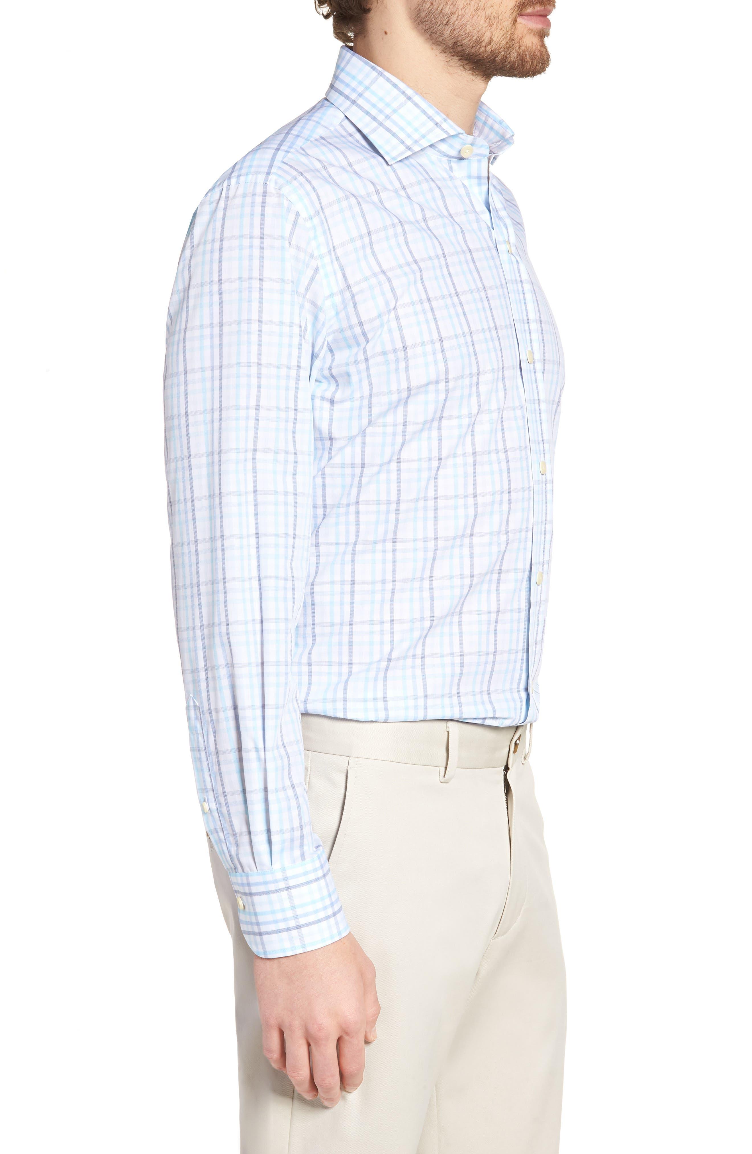 Pelton Slim Fit Check Dress Shirt,                             Alternate thumbnail 4, color,                             Turquoise/ Aqua