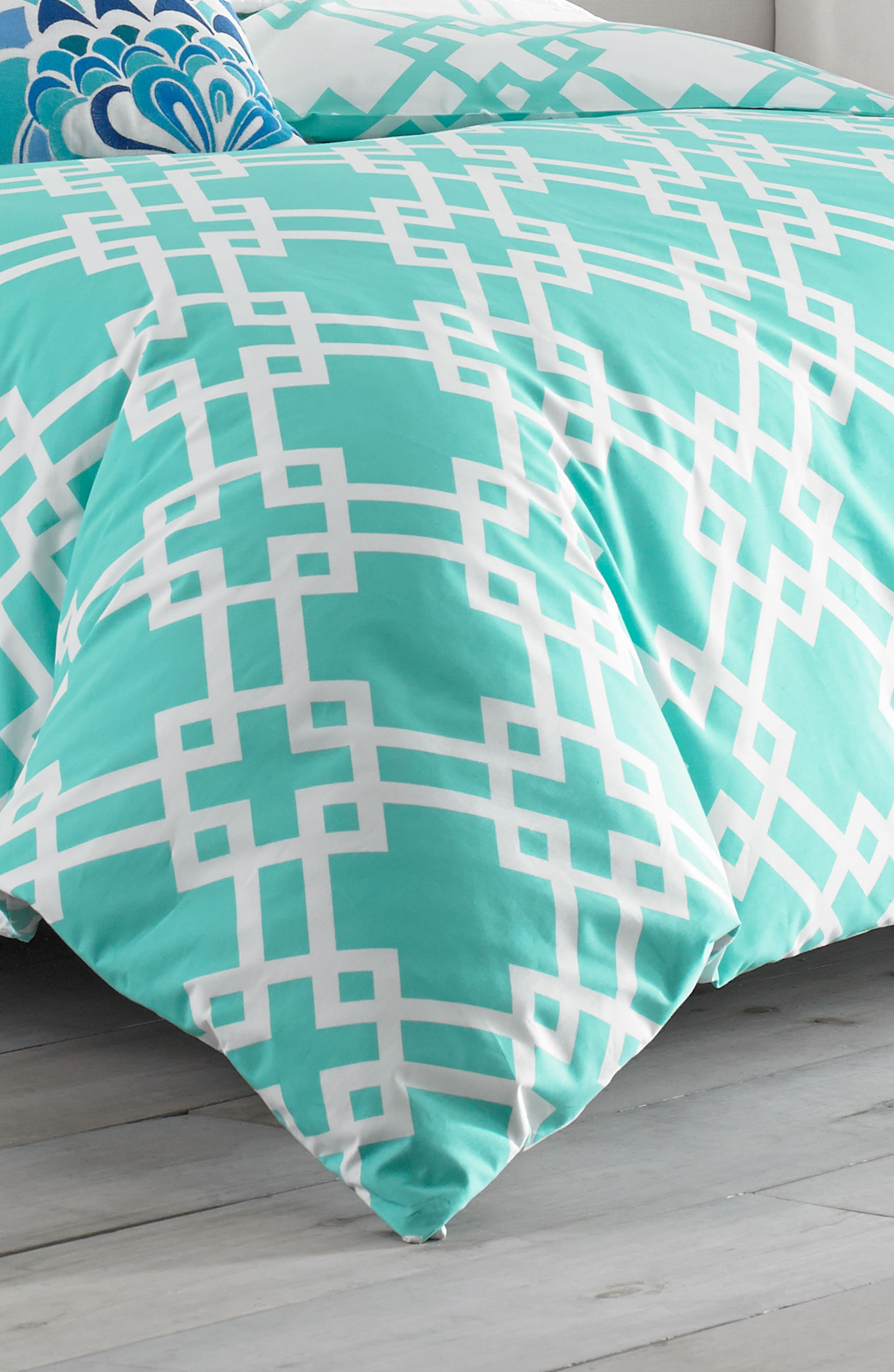 Avalon Comforter & Sham Set,                             Alternate thumbnail 3, color,                             Turquoise
