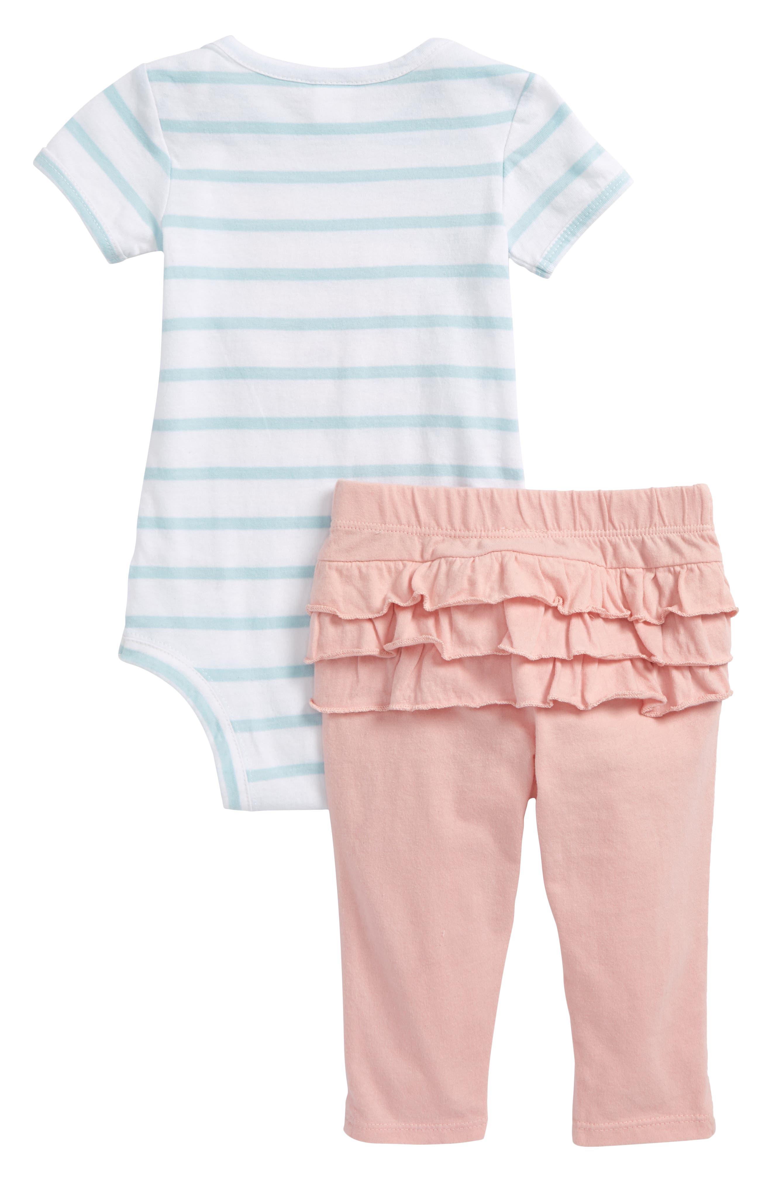 Stripe Bodysuit & Ruffle Leggings Set,                             Alternate thumbnail 2, color,                             White- Pink Bunny