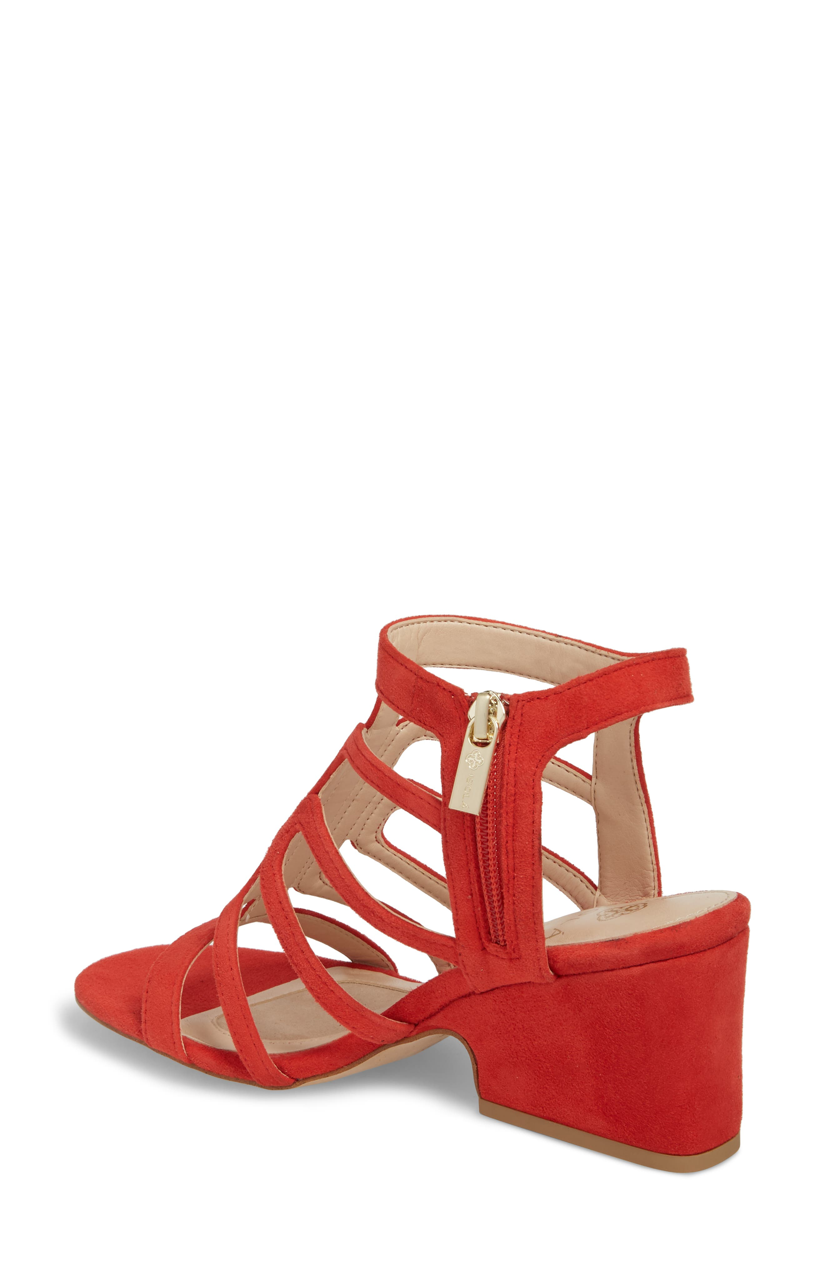 Lina Sandal,                             Alternate thumbnail 2, color,                             Lipstick Red Suede