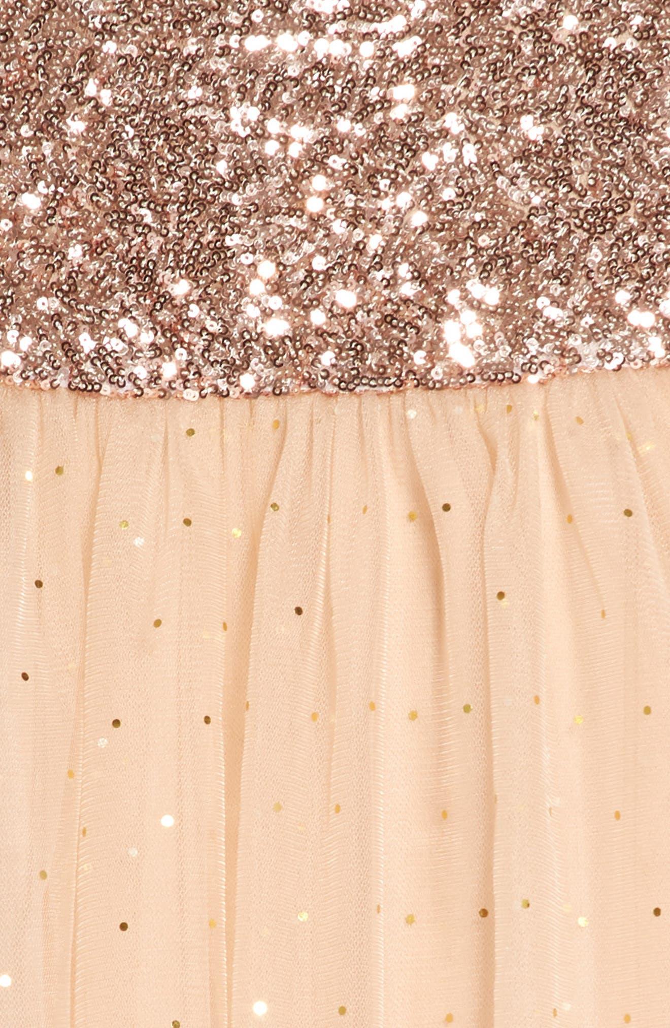 Glitter Moon Dress,                             Alternate thumbnail 3, color,                             Peach