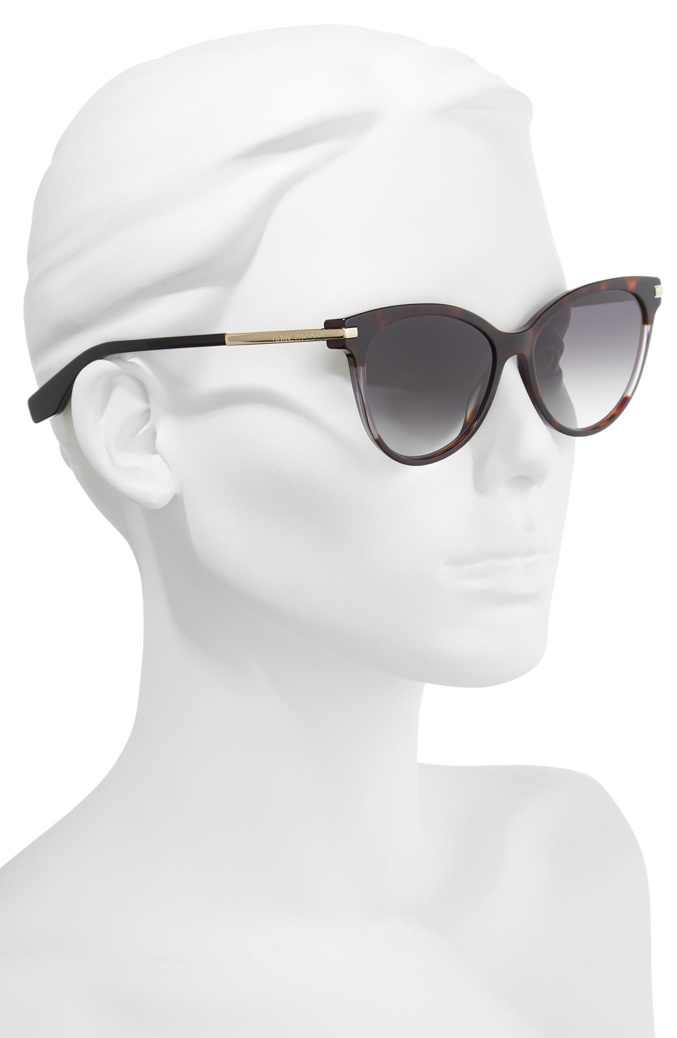 55mm Cat Eye Sunglasses,                             Alternate thumbnail 3, color,                             Dark Havana