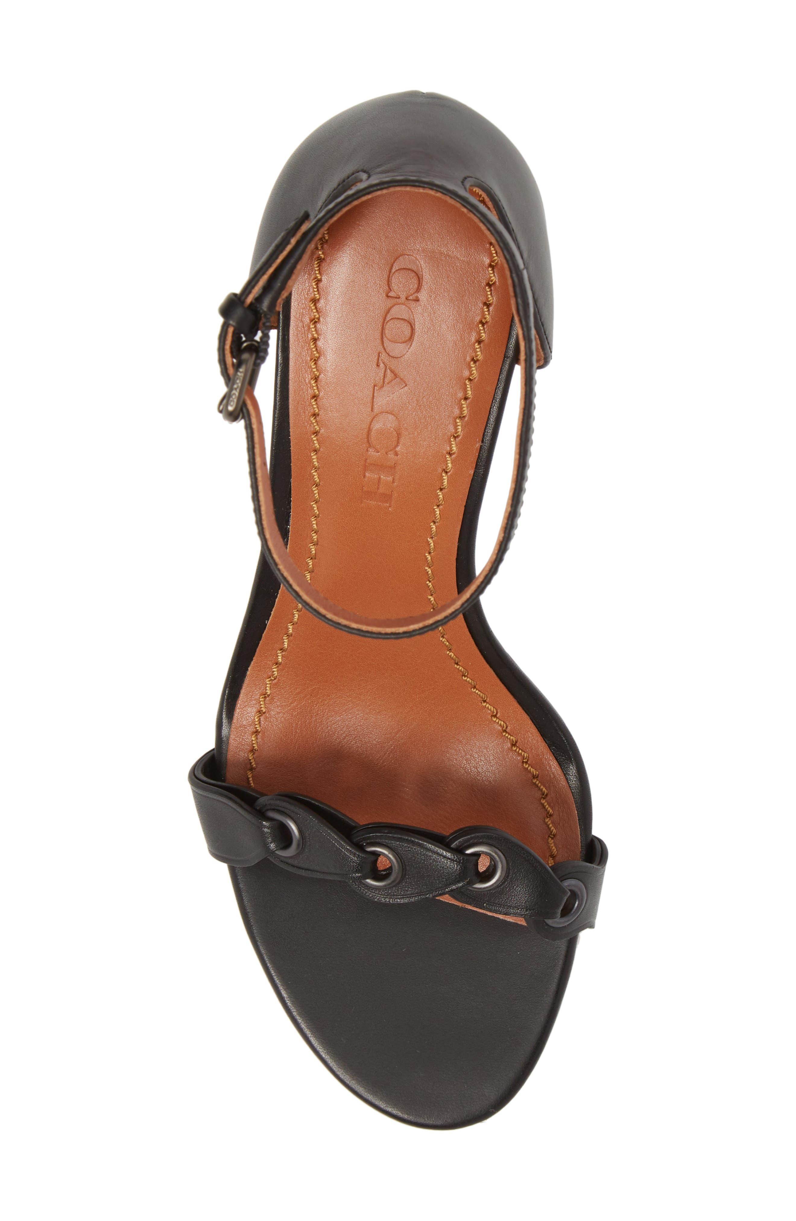 Link Ankle Strap Sandal,                             Alternate thumbnail 5, color,                             Black Leather