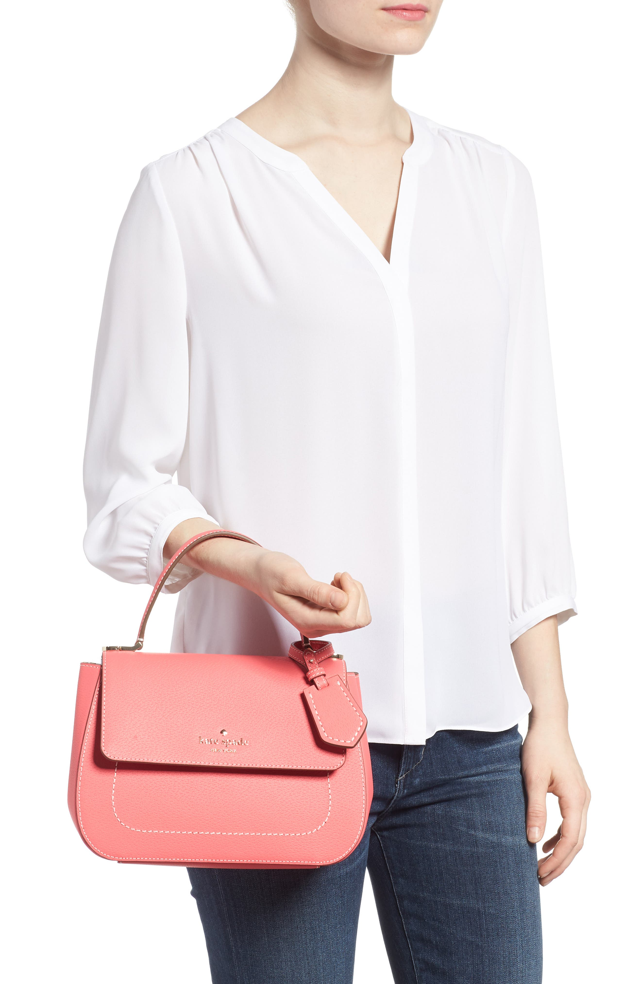 thompson street - justina leather satchel,                             Alternate thumbnail 2, color,                             Bright Flamingo