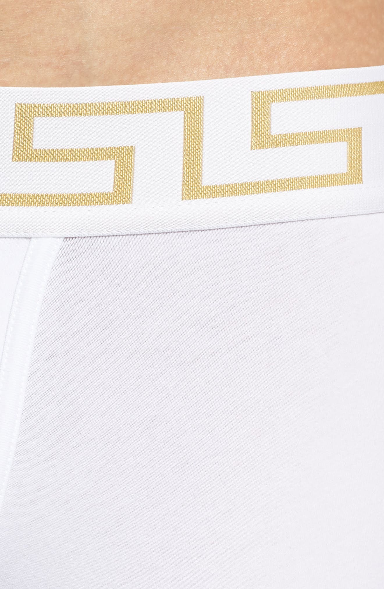 Versace Collection Long Trunks,                             Alternate thumbnail 4, color,                             White/ Greek/ Gold