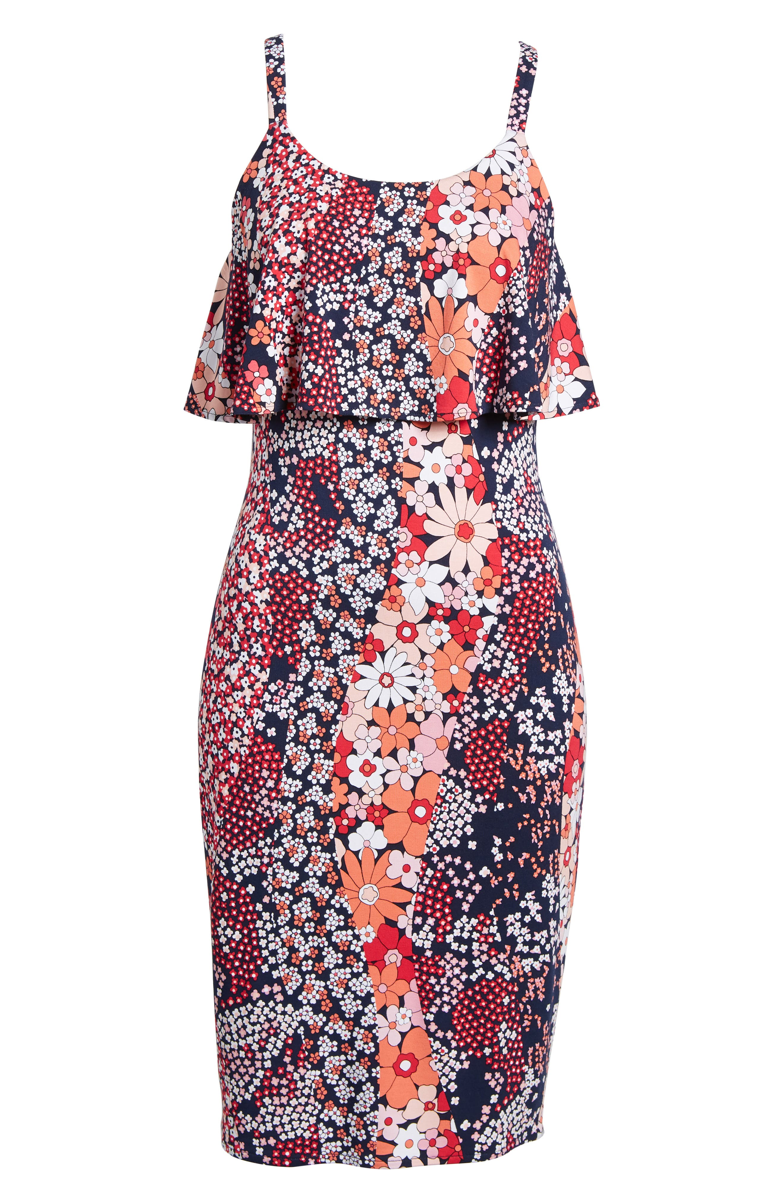 Print Floral Dress,                             Alternate thumbnail 6, color,                             True Navy/ Bright Blush