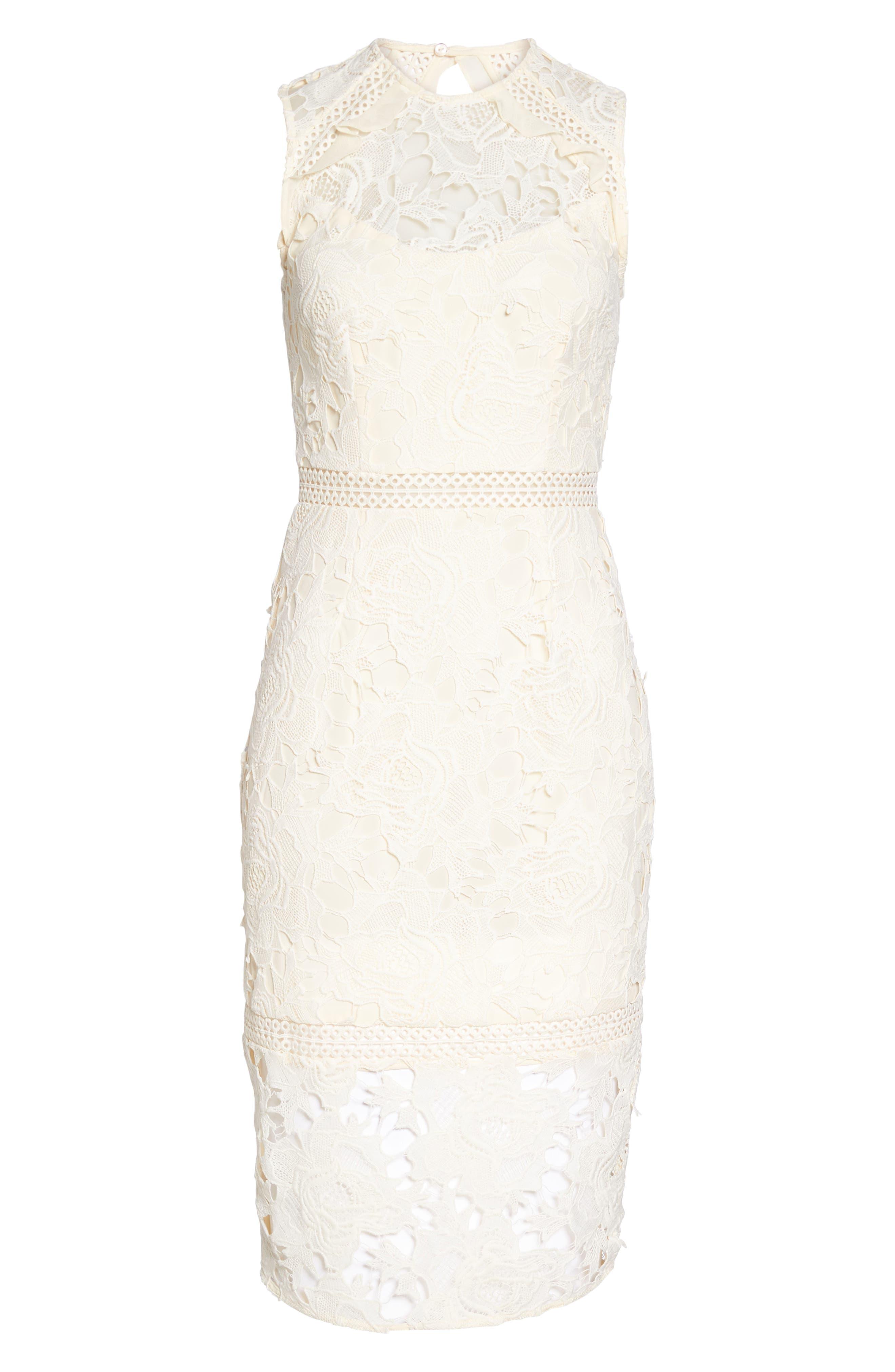 Lustrous High Neck Lace Sheath Dress,                             Alternate thumbnail 6, color,                             Coconut Milk