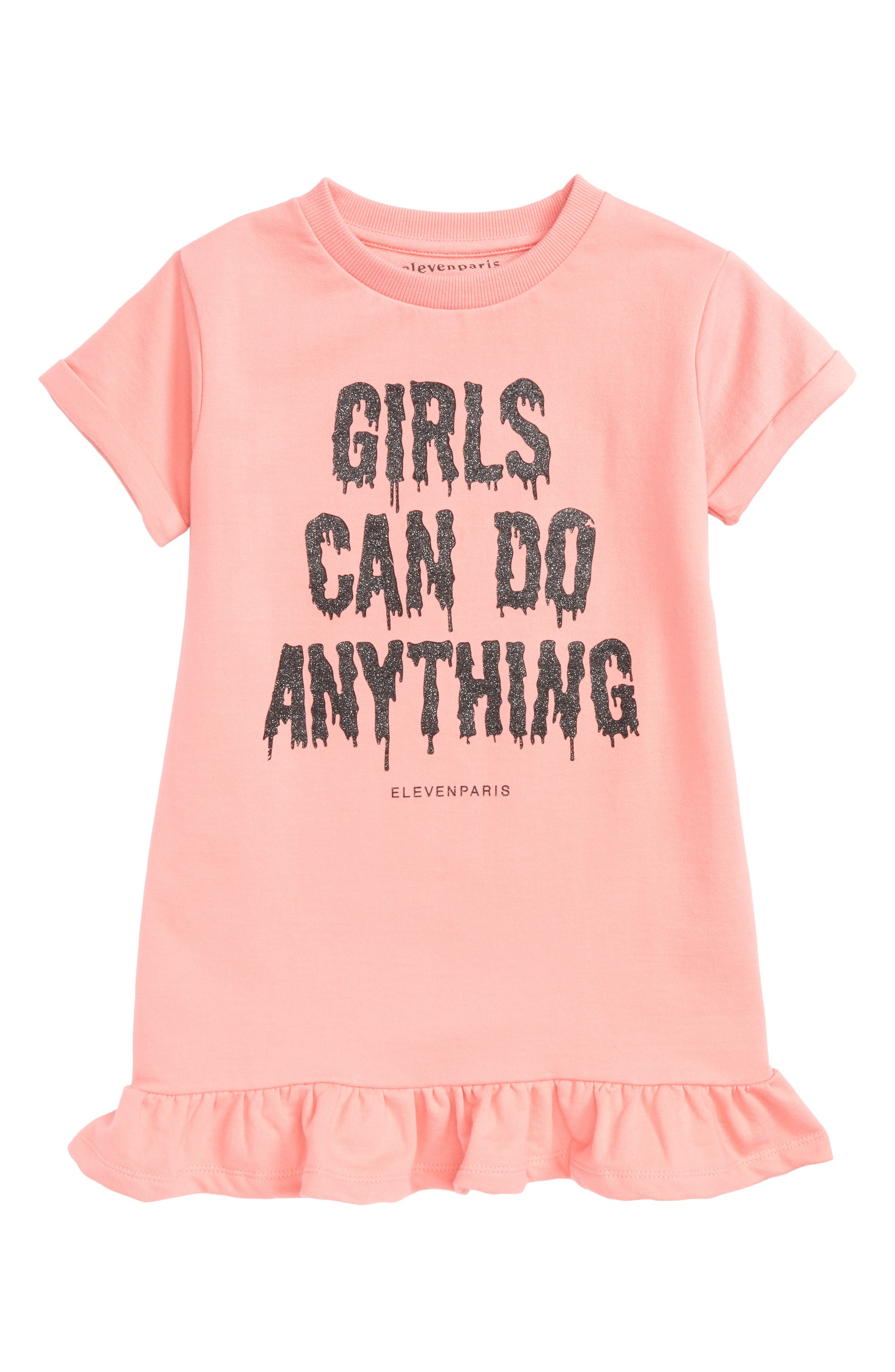 Girls Can Do Anything Graphic Dress,                         Main,                         color, Pink