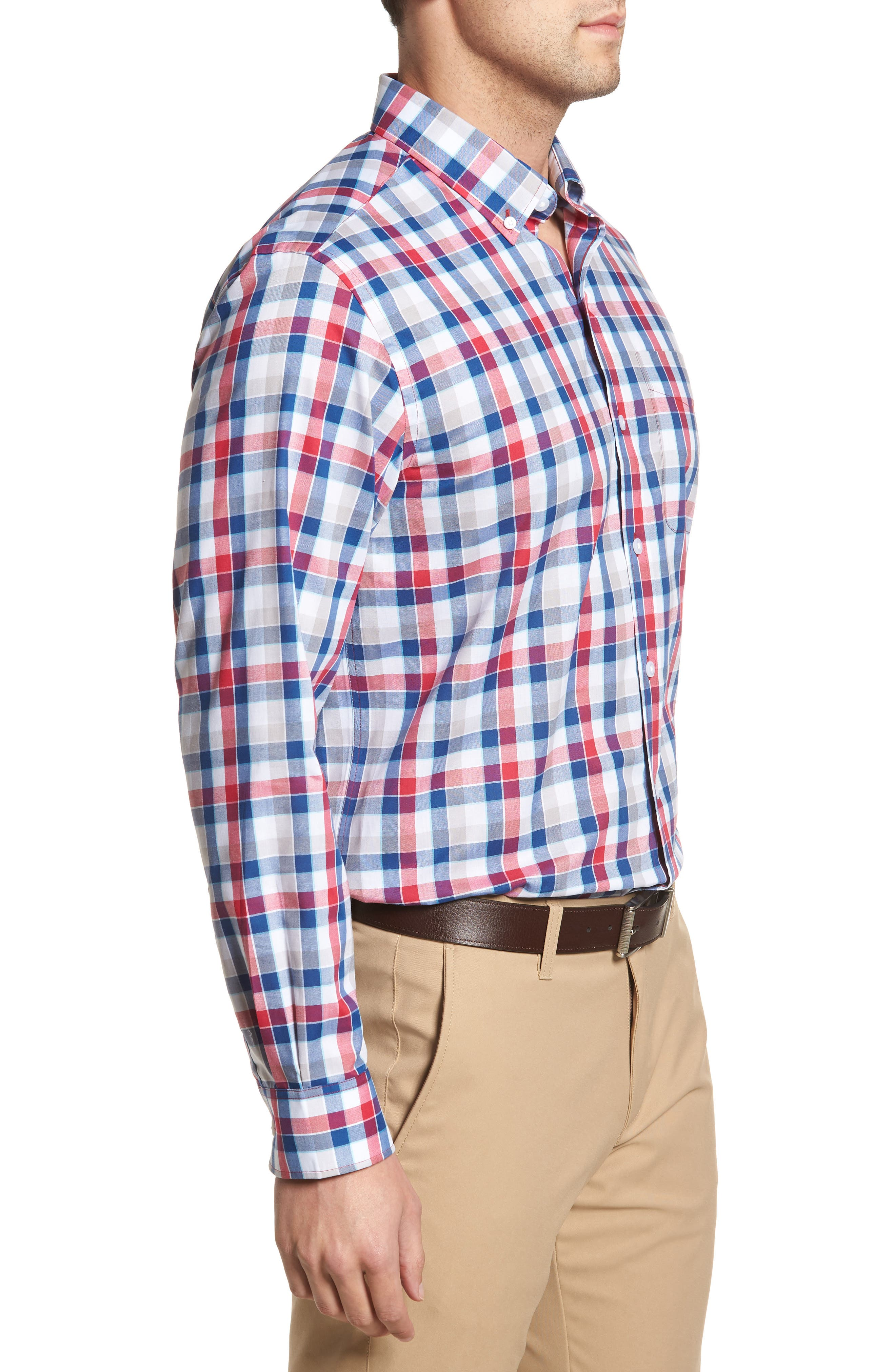 Dylan Classic Fit Easy Care Check Sport Shirt,                             Alternate thumbnail 3, color,                             Virtual