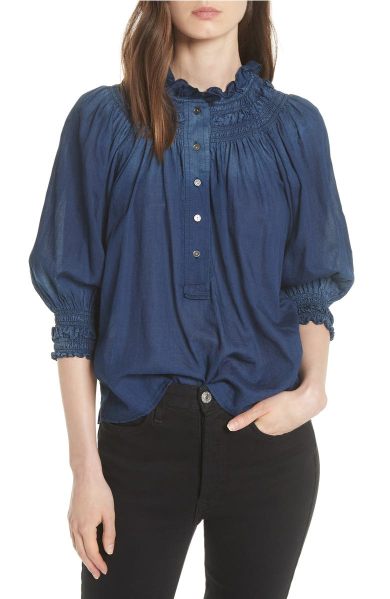Ruffled Tissue Denim Blouse