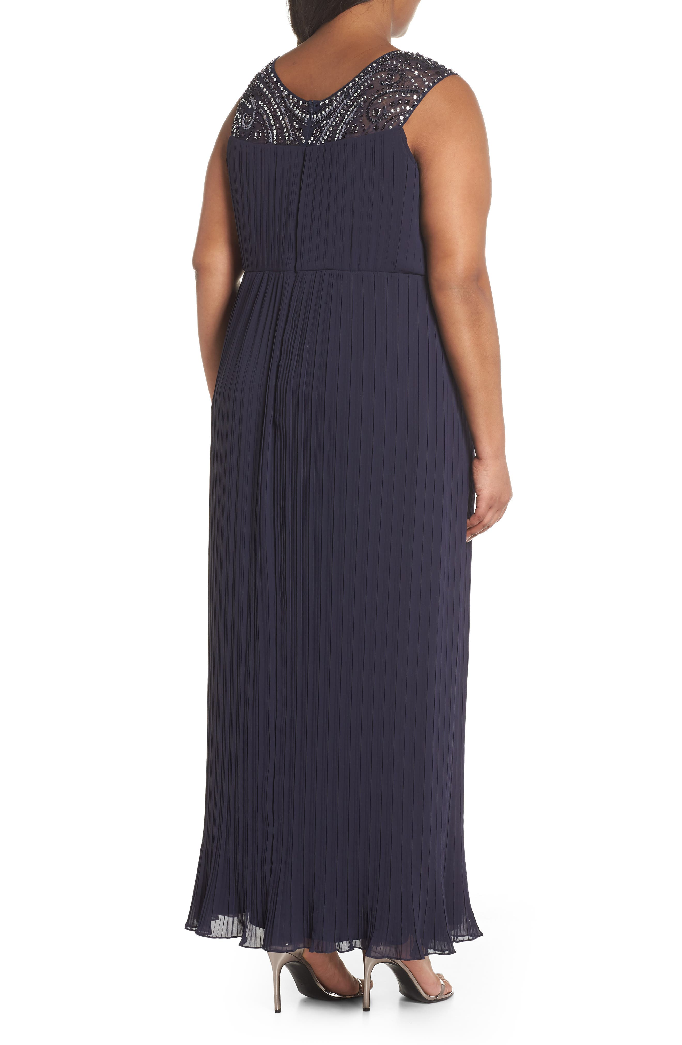 Embellished Illusion Pleated Gown,                             Alternate thumbnail 2, color,                             Navy