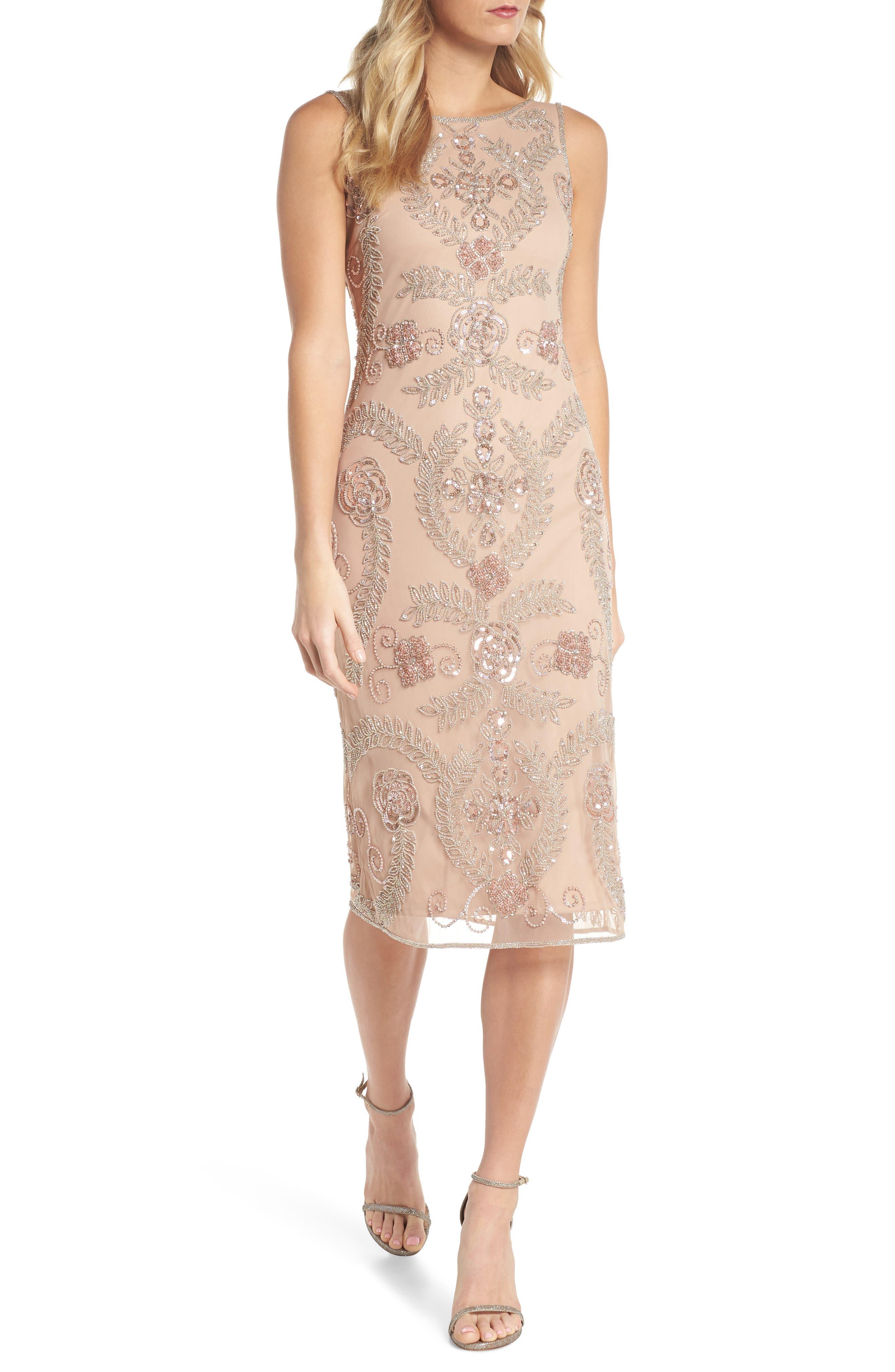 Main Image - Pisarro Nights Beaded Pencil Dress (Regular & Petite)