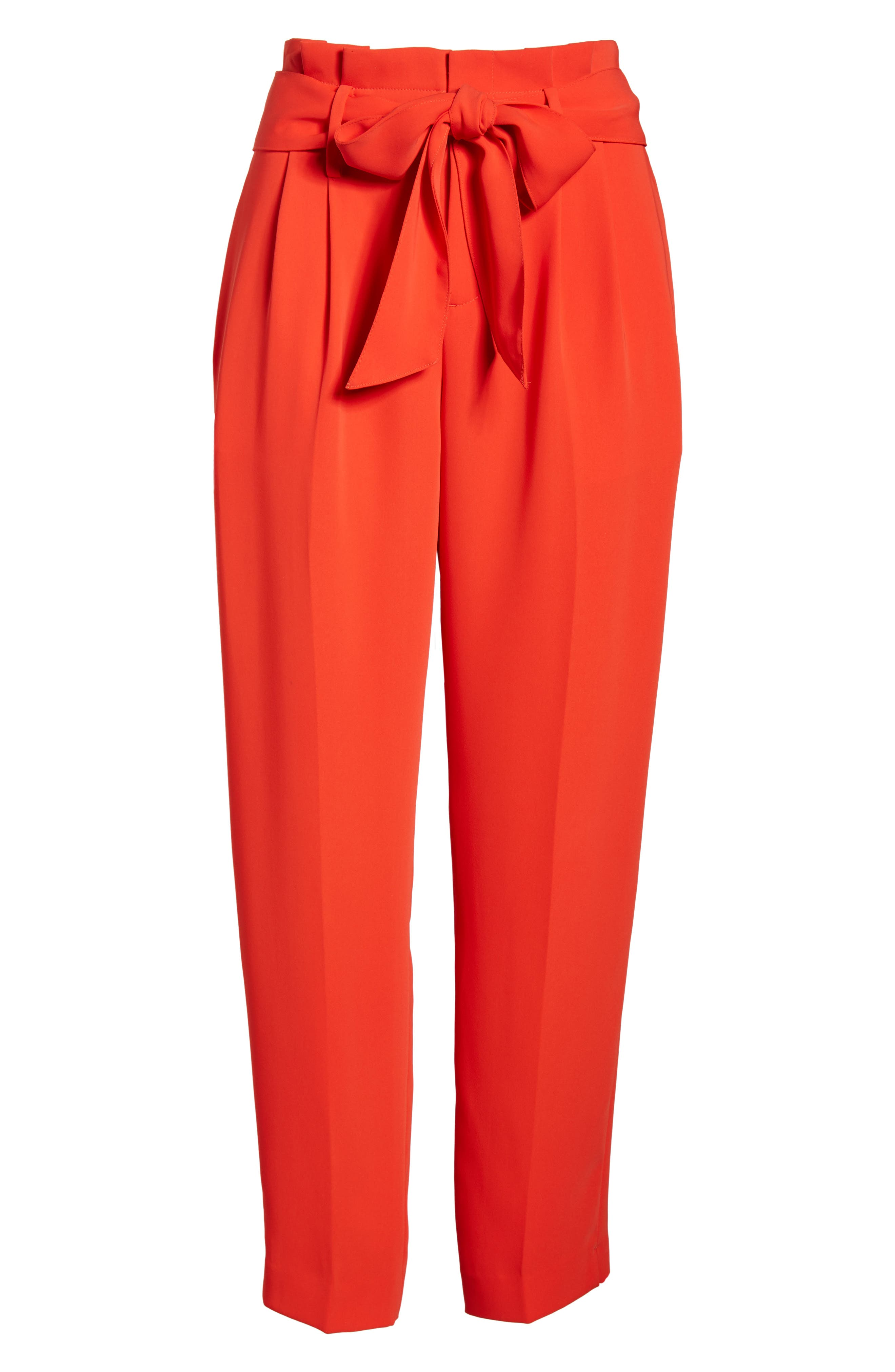 Paperbag Waist Crop Trousers,                             Alternate thumbnail 6, color,                             Red Pop