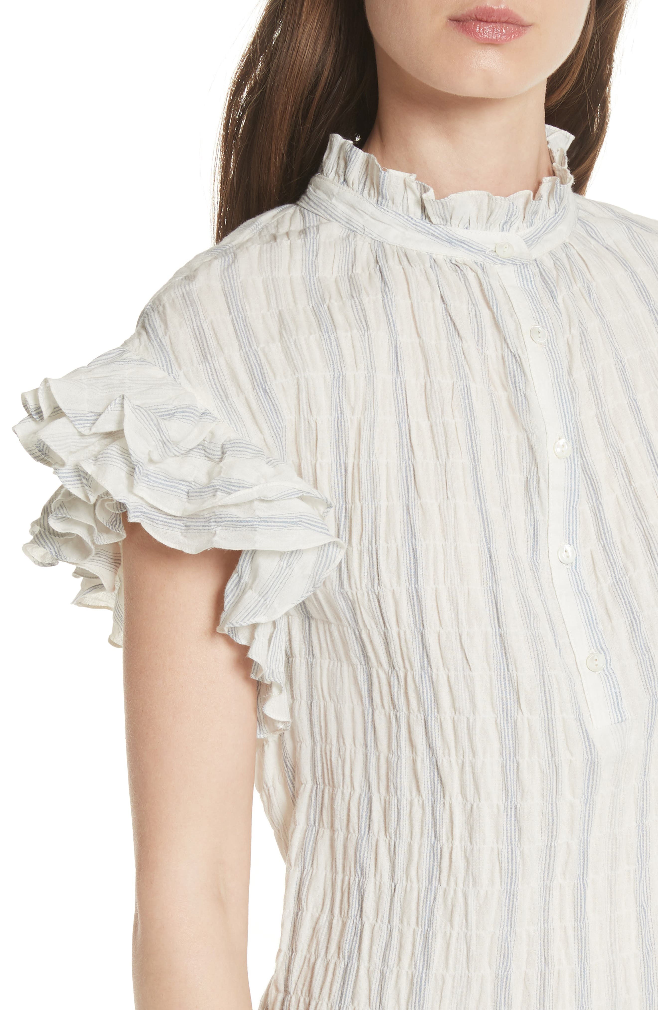 Ruffled Stripe Top,                             Alternate thumbnail 4, color,                             Snow Combo