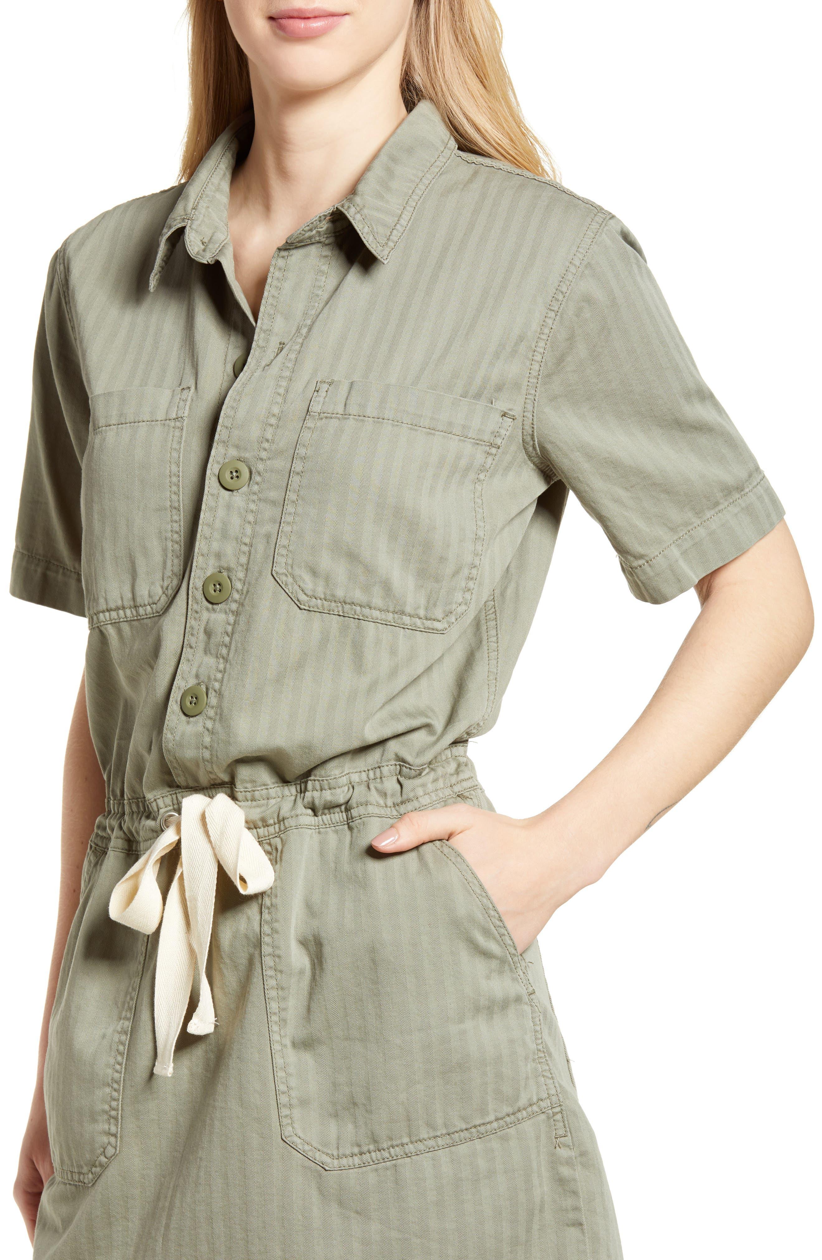 Drawstring Cotton Twill Dress,                             Alternate thumbnail 4, color,                             Sage Fray