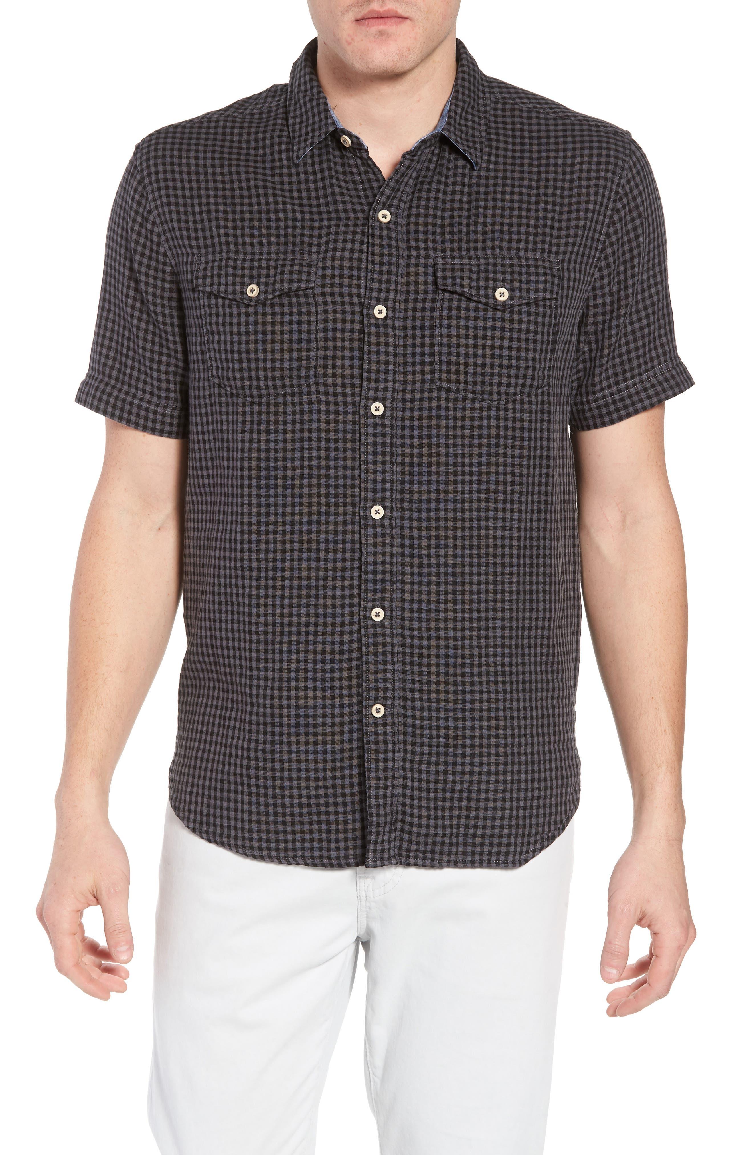 Soho Gingham Sport Shirt,                         Main,                         color, Black Charcoal