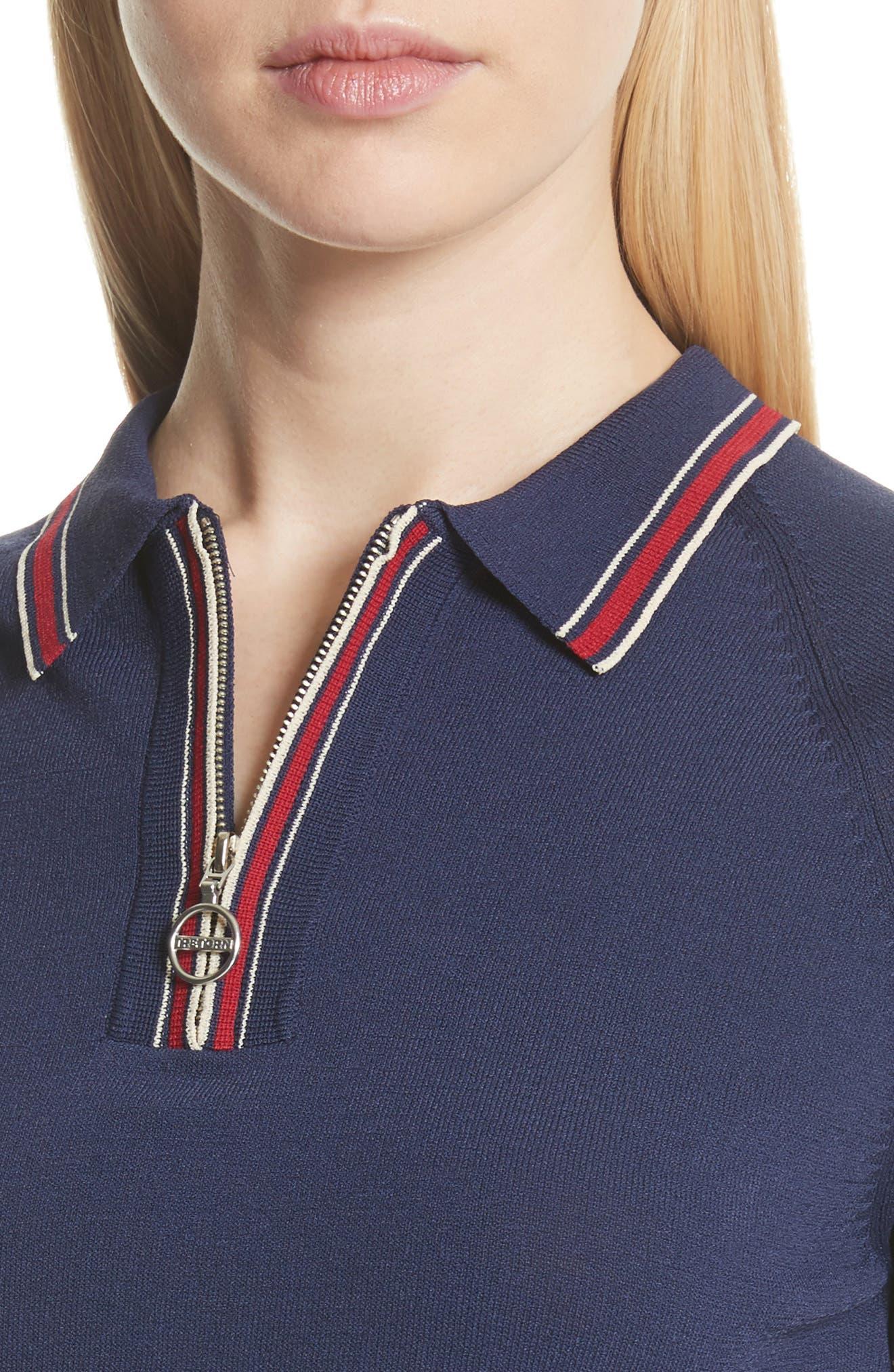 Zip Polo,                             Alternate thumbnail 4, color,                             Navy