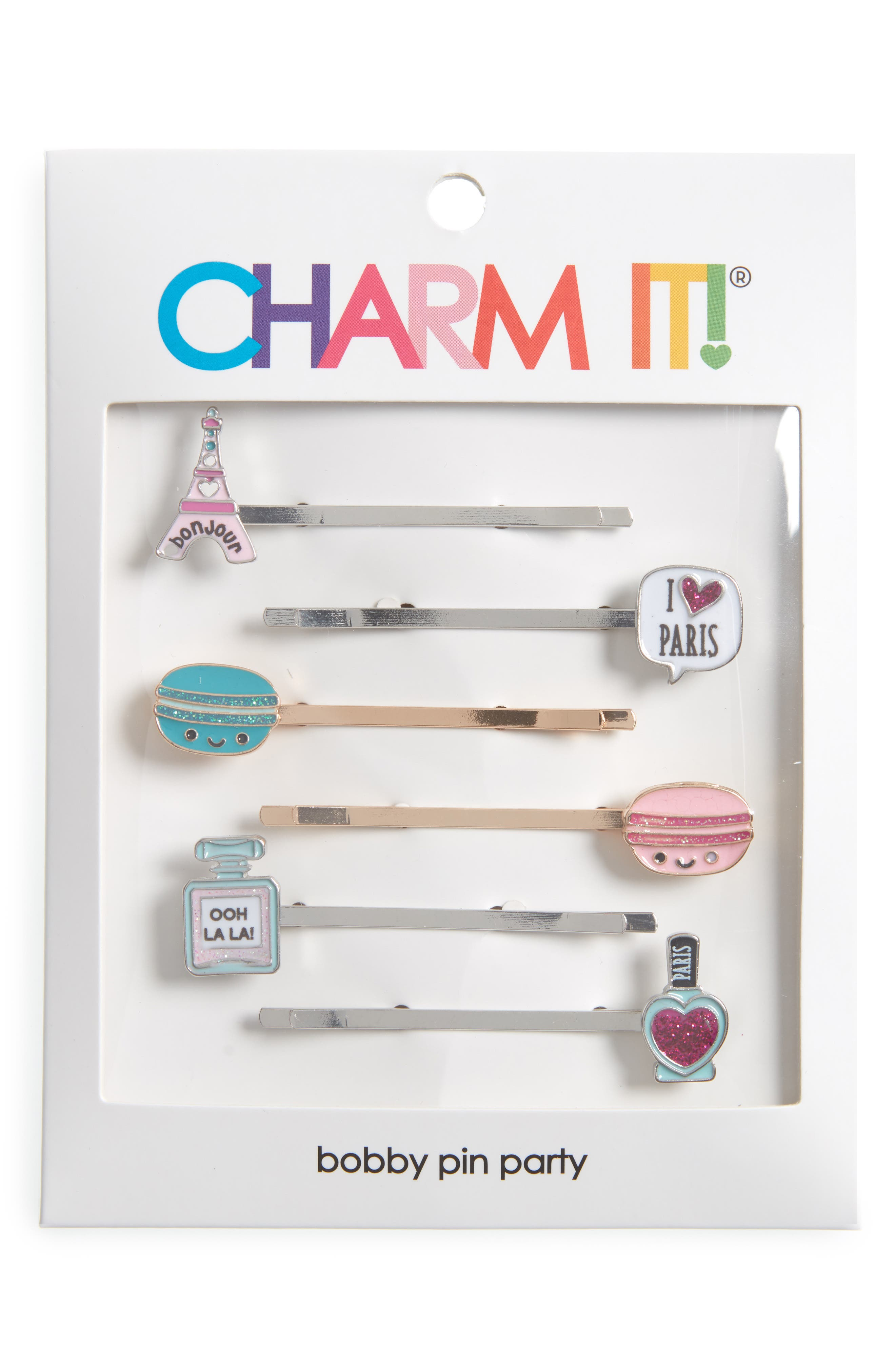 CHARM IT!<sup>®</sup> Party 6-Pack Parisian Bobby Pins,                             Alternate thumbnail 2, color,                             Multi