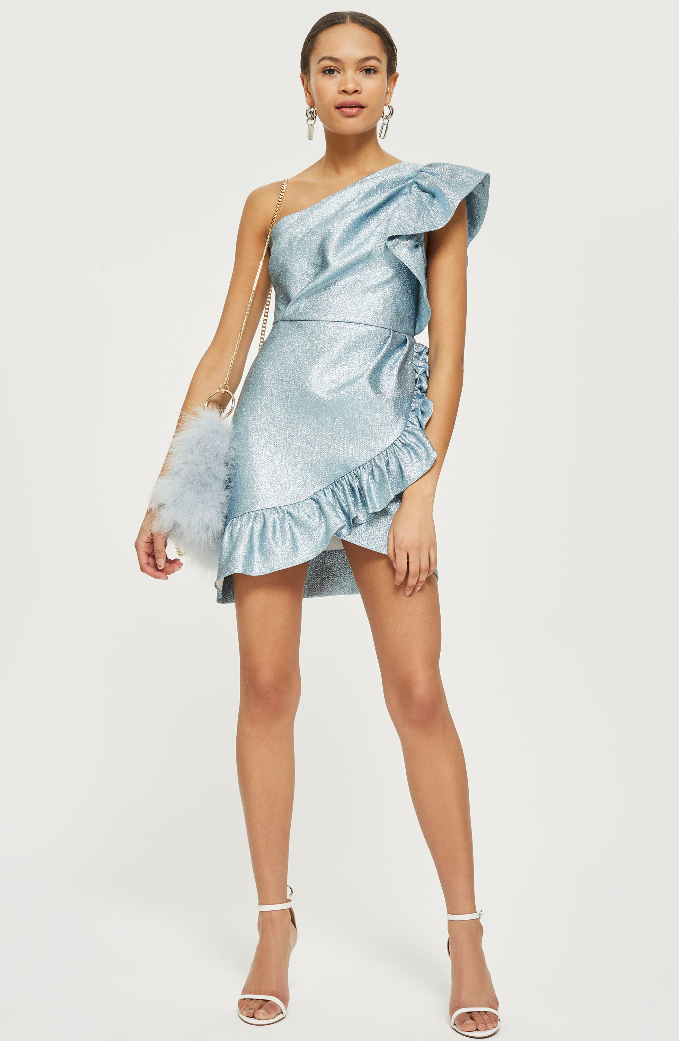 One-Shoulder Ruffle Minidress,                             Alternate thumbnail 3, color,                             Blue