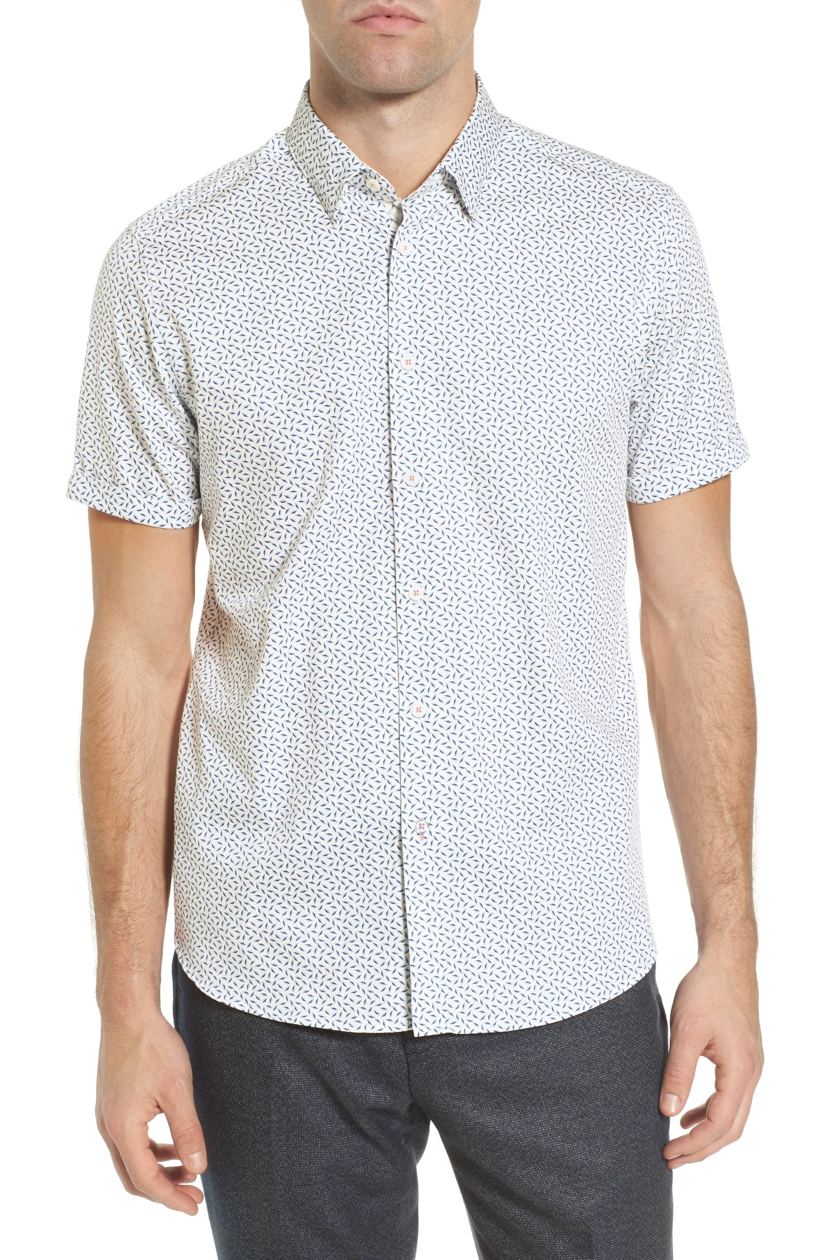 Narnar Trim Fit Geo Print Camp Shirt,                             Main thumbnail 1, color,                             White