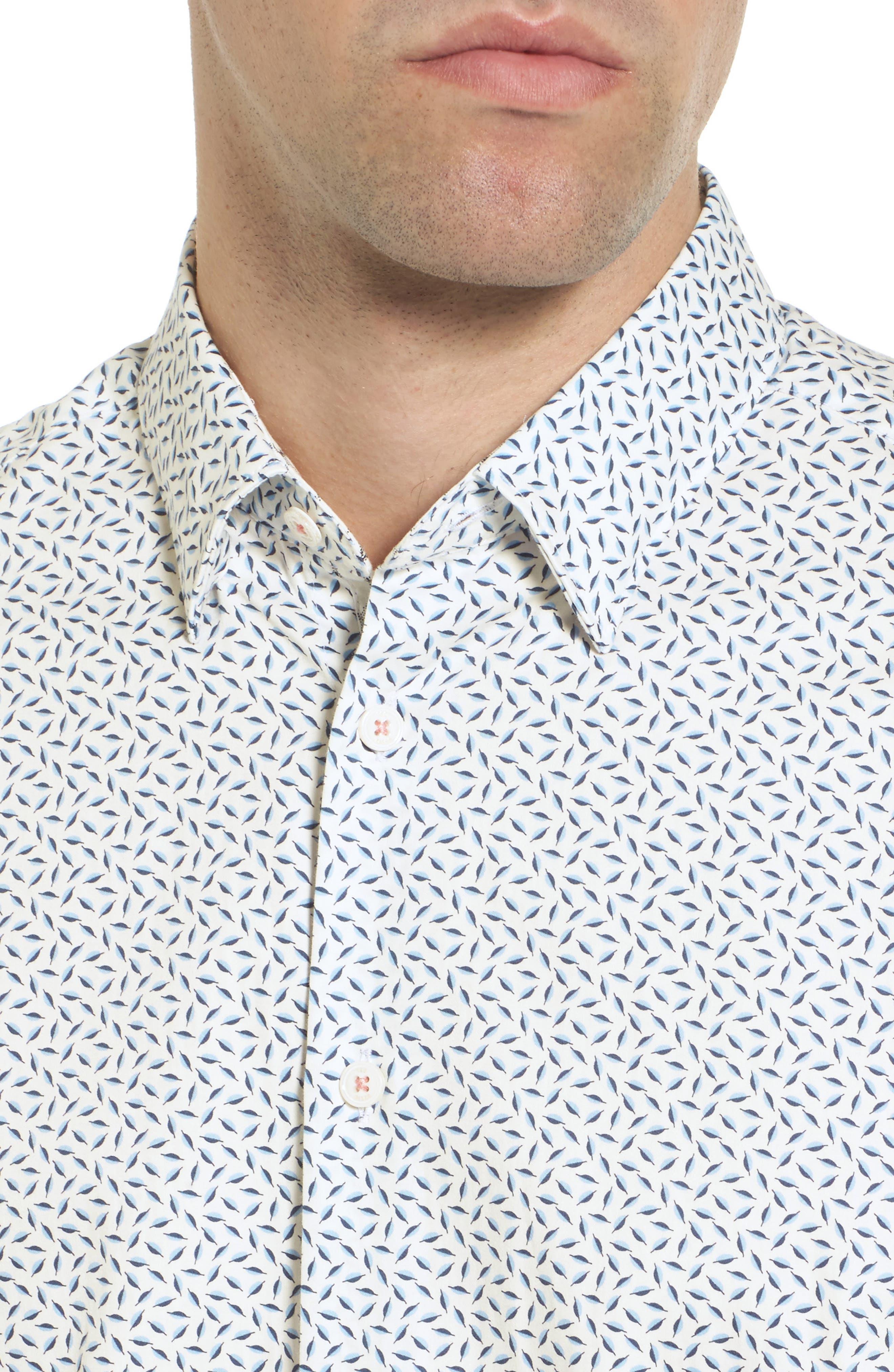 Narnar Trim Fit Geo Print Camp Shirt,                             Alternate thumbnail 2, color,                             White