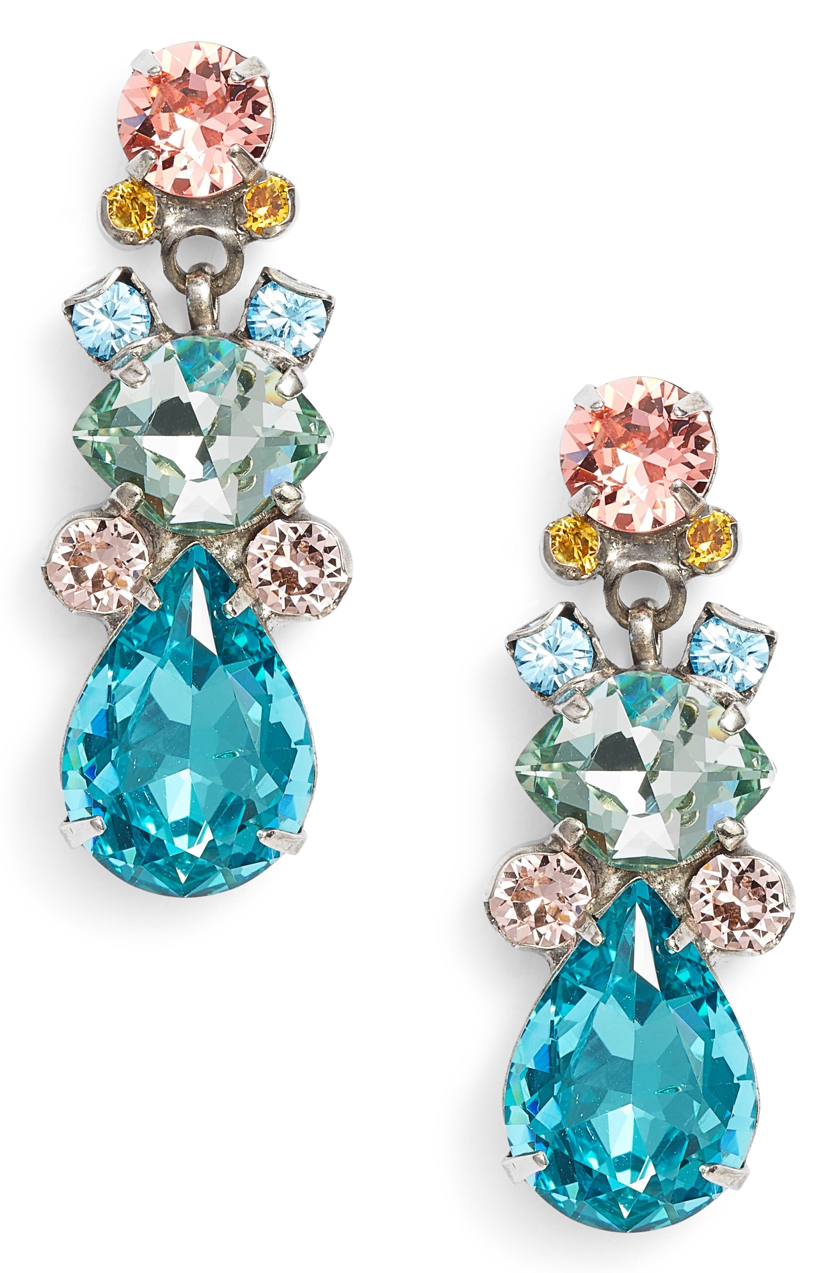 Iberis Earrings,                             Main thumbnail 1, color,                             Aqua/ Pink/ Green