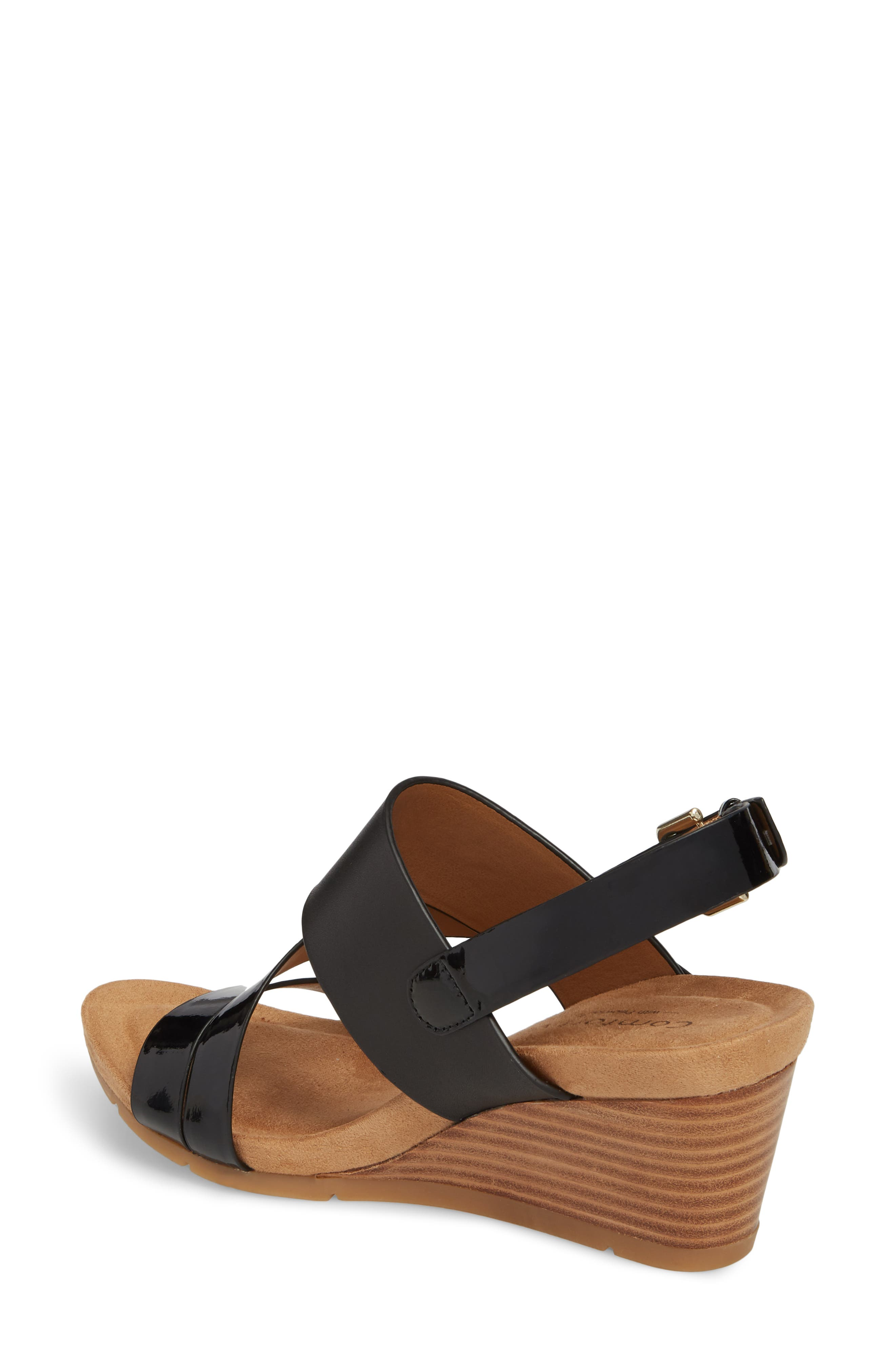 Vail Wedge Sandal,                             Alternate thumbnail 2, color,                             Black Leather