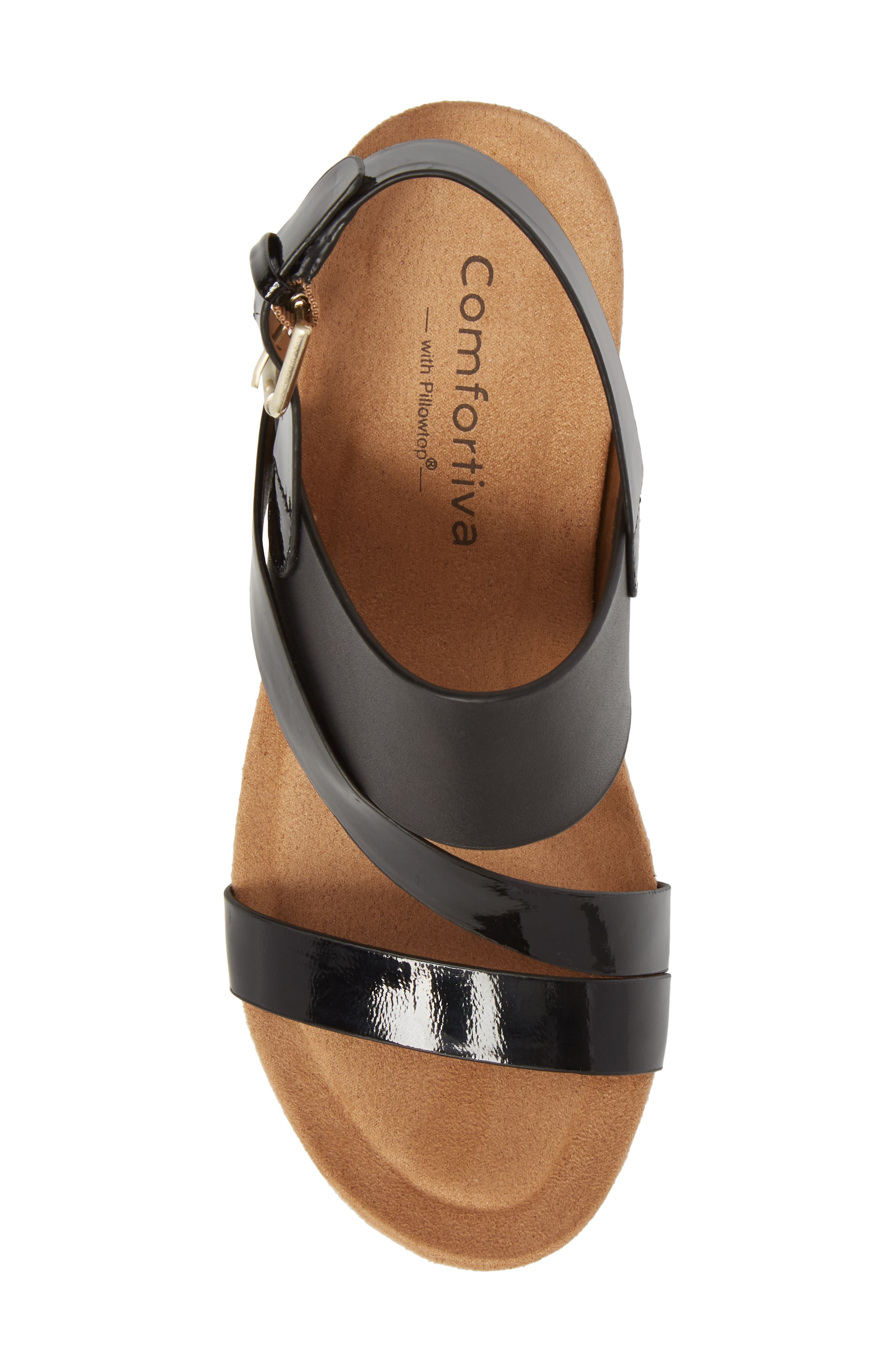 Vail Wedge Sandal,                             Alternate thumbnail 5, color,                             Black Leather