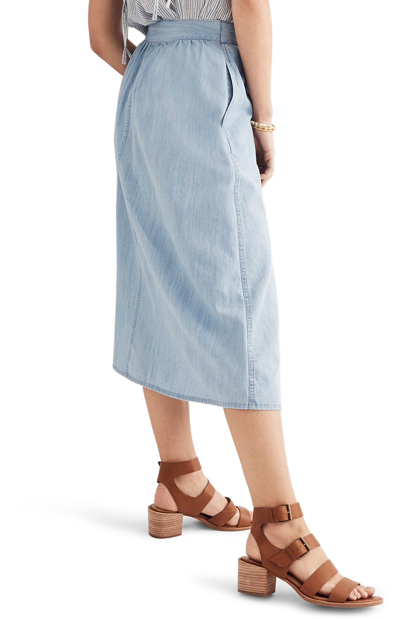 Button Front Midi Skirt,                             Alternate thumbnail 2, color,                             Altamira Wash
