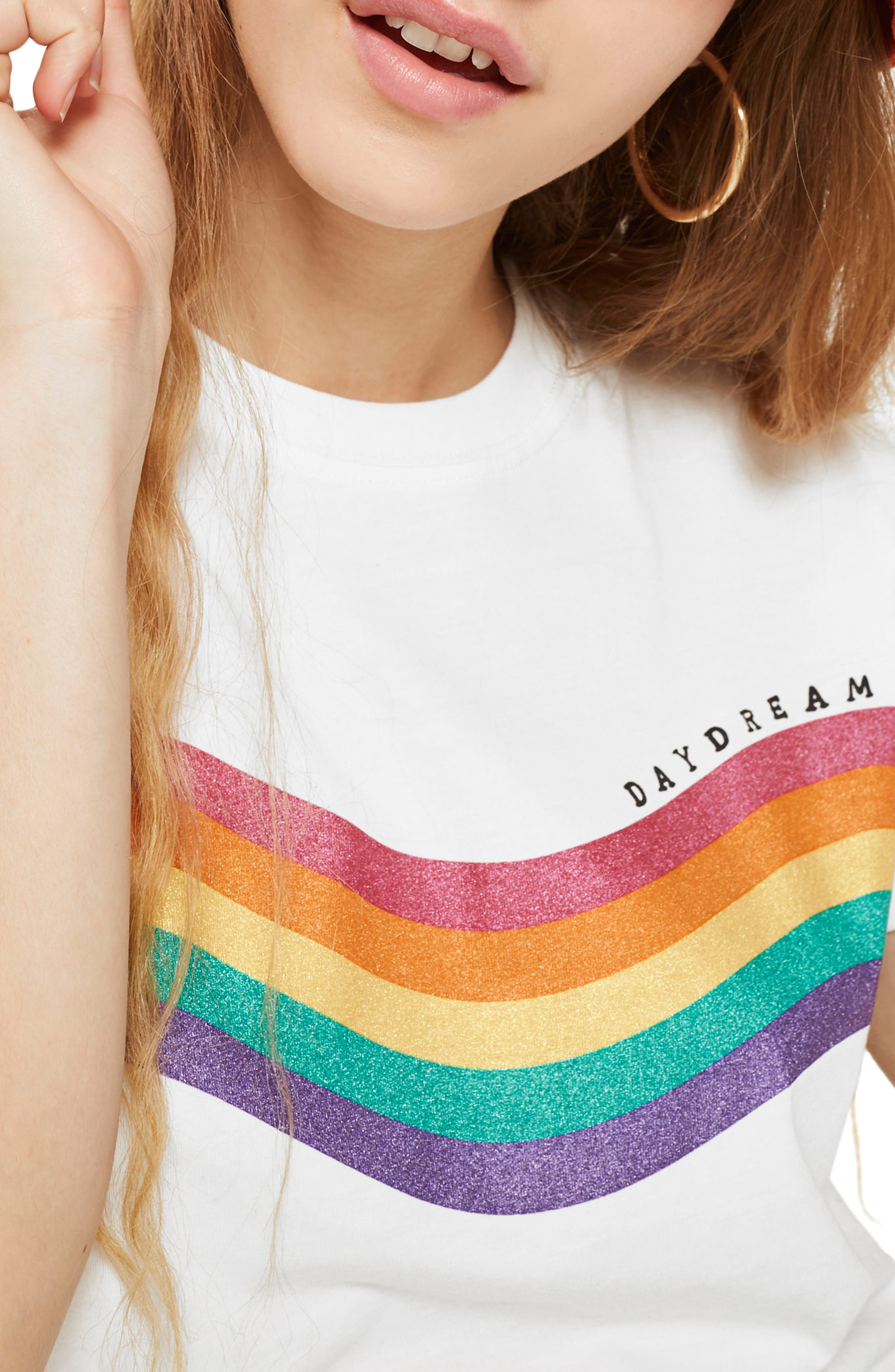 Day Dreamer Rainbow Tee,                             Alternate thumbnail 2, color,                             White Multi