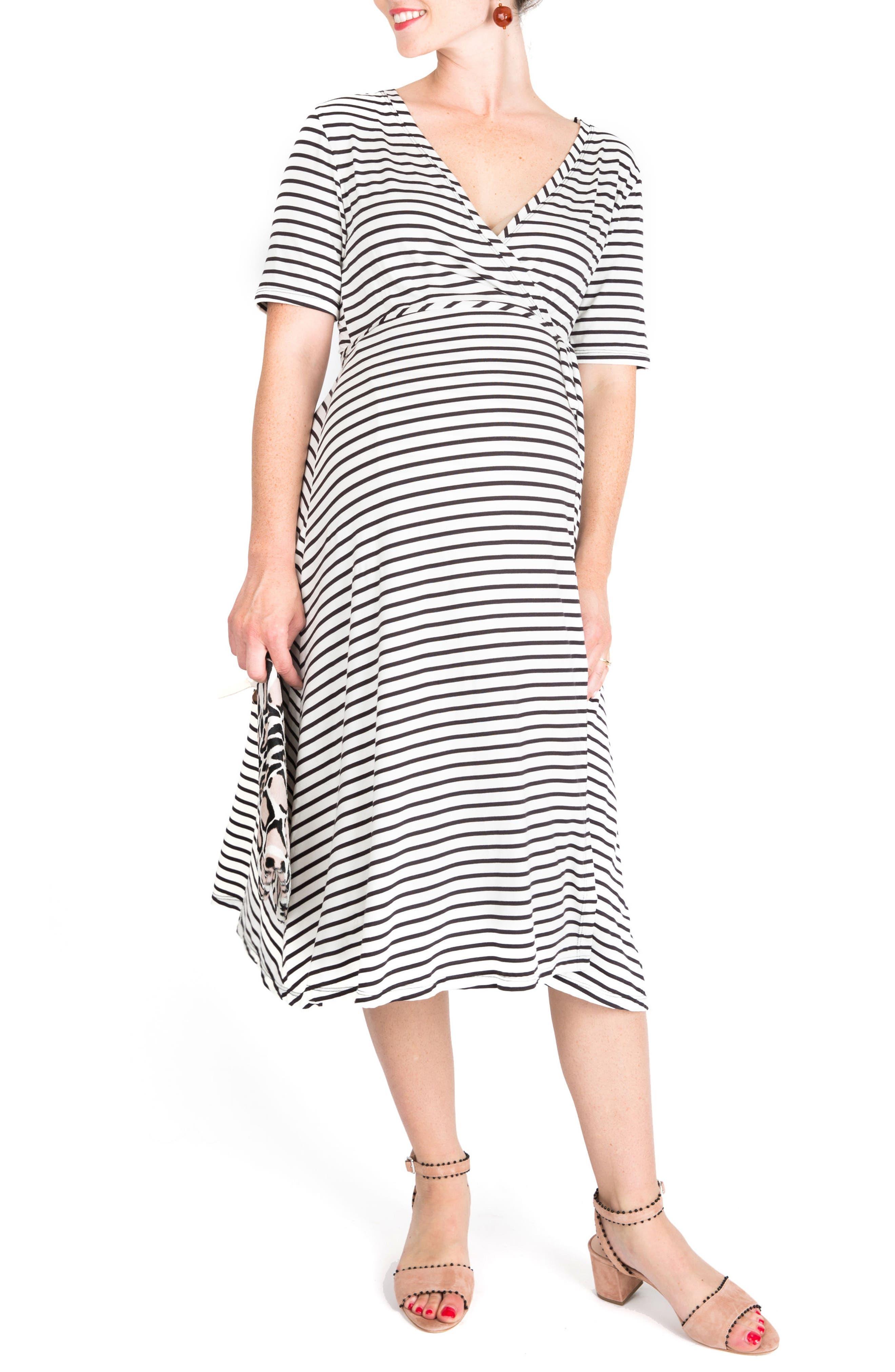 Maya Maternity/Nursing Wrap Dress,                             Main thumbnail 1, color,                             Black/ White Stripe