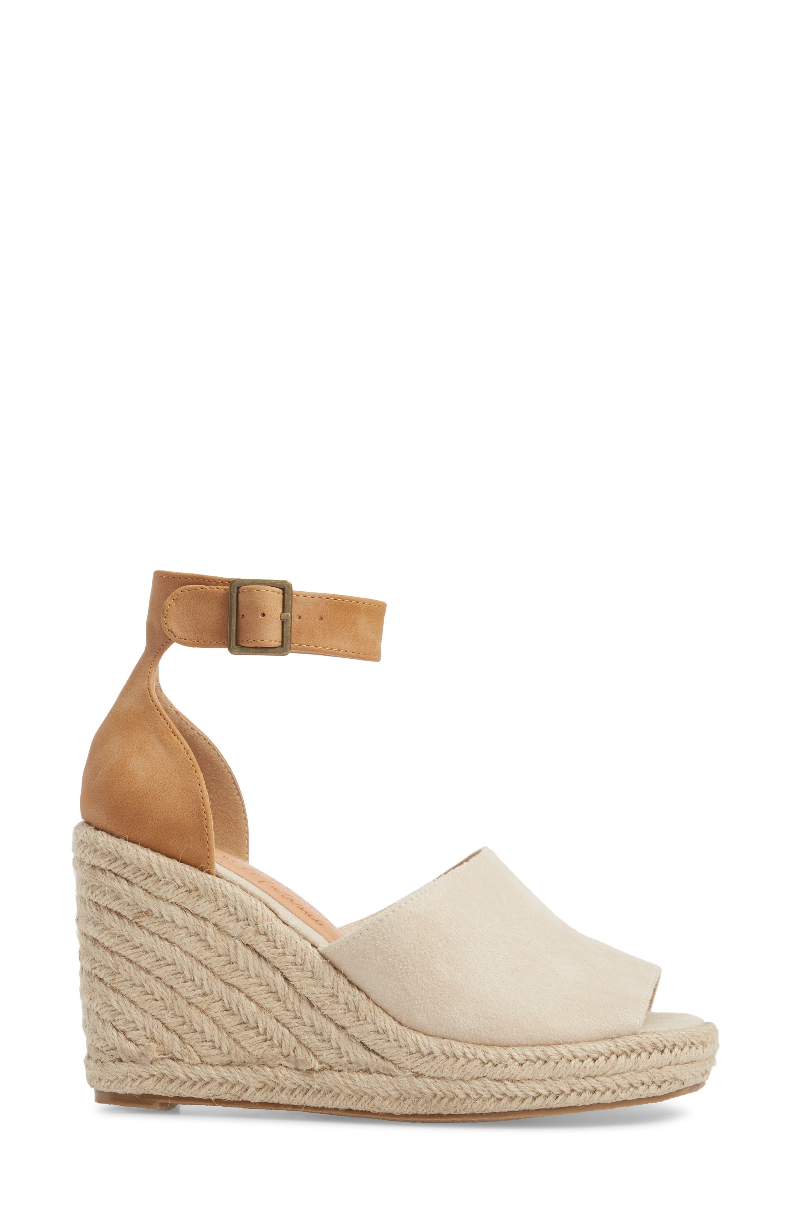 Flamingo Wedge Sandal,                             Alternate thumbnail 3, color,                             Natural Suede