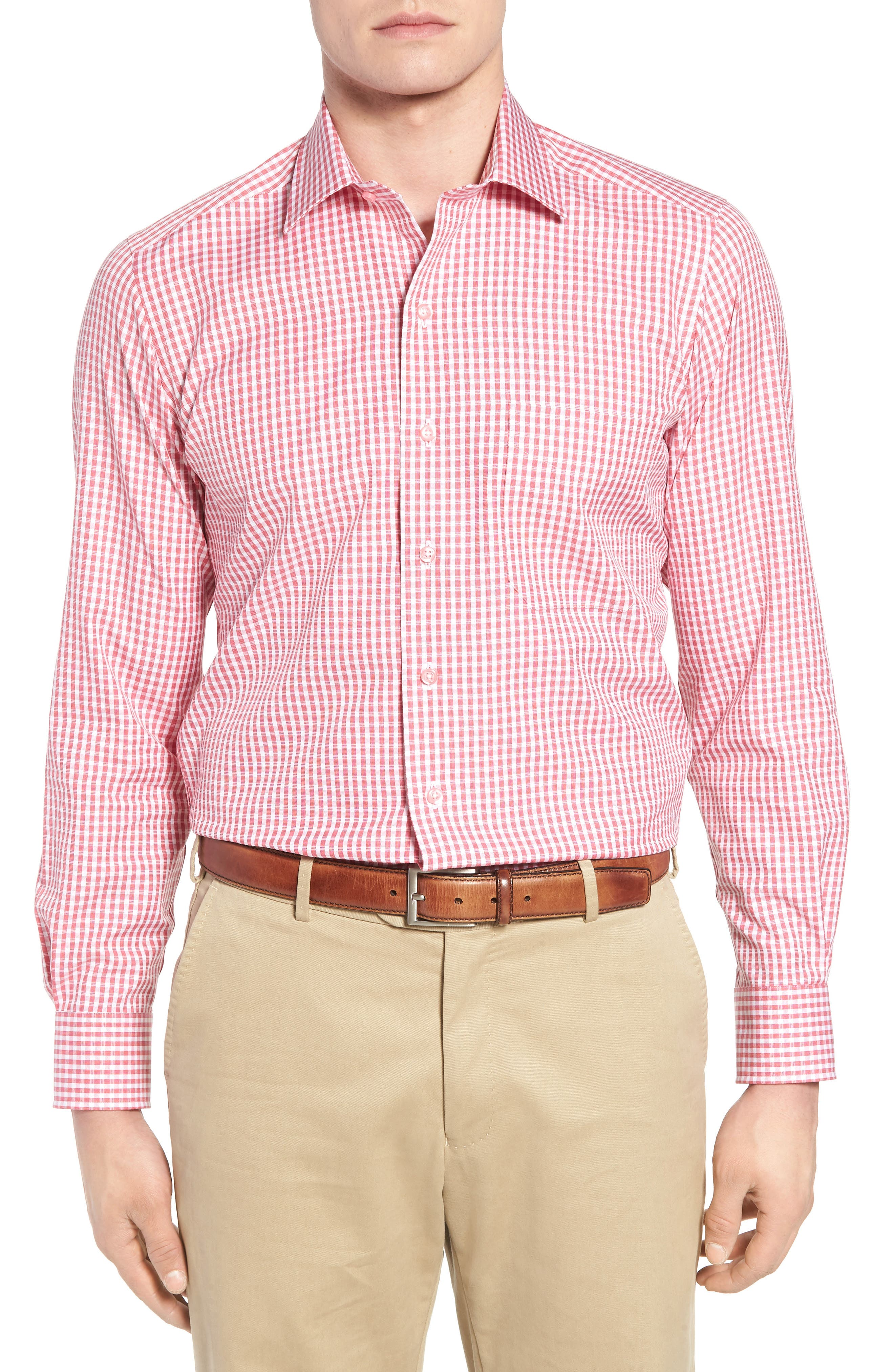 Check Cotton Sport Shirt,                             Main thumbnail 1, color,                             Pink