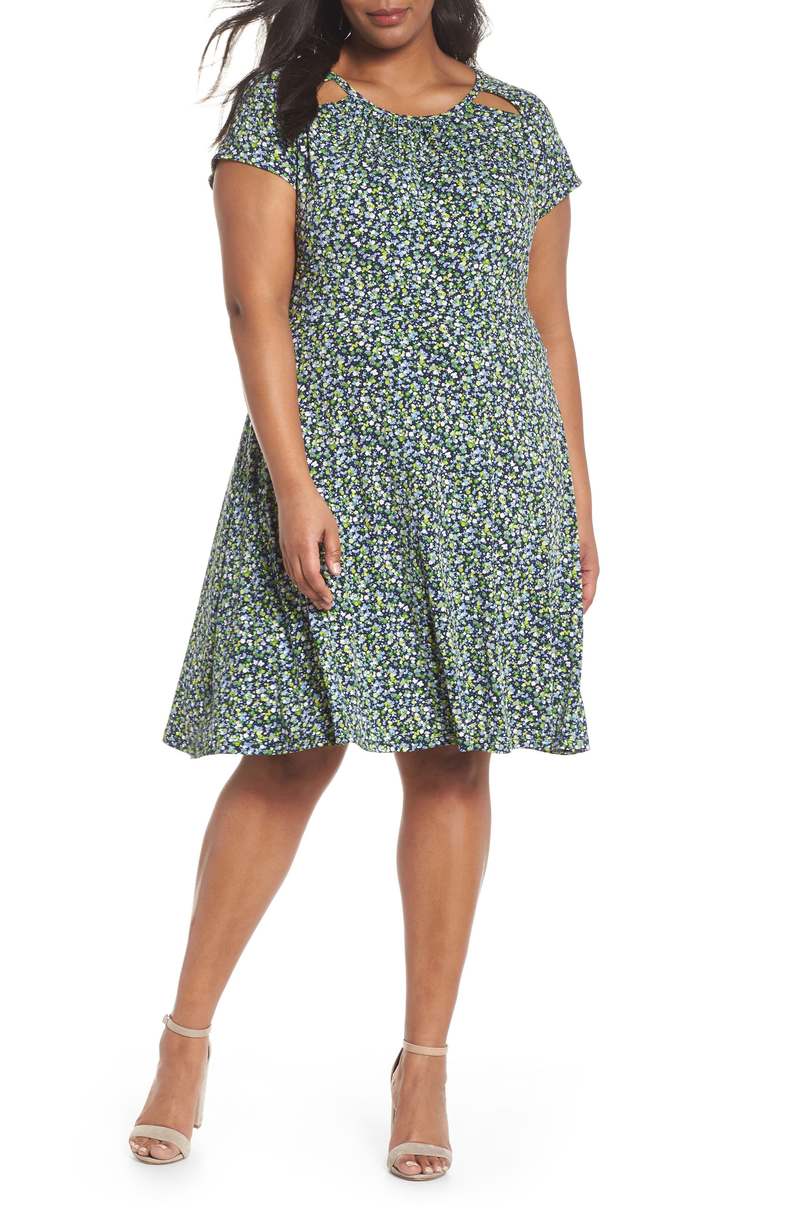 Floral Cutout Jersey Fit & Flare Dress,                         Main,                         color, True Navy/ Green Apple Mu