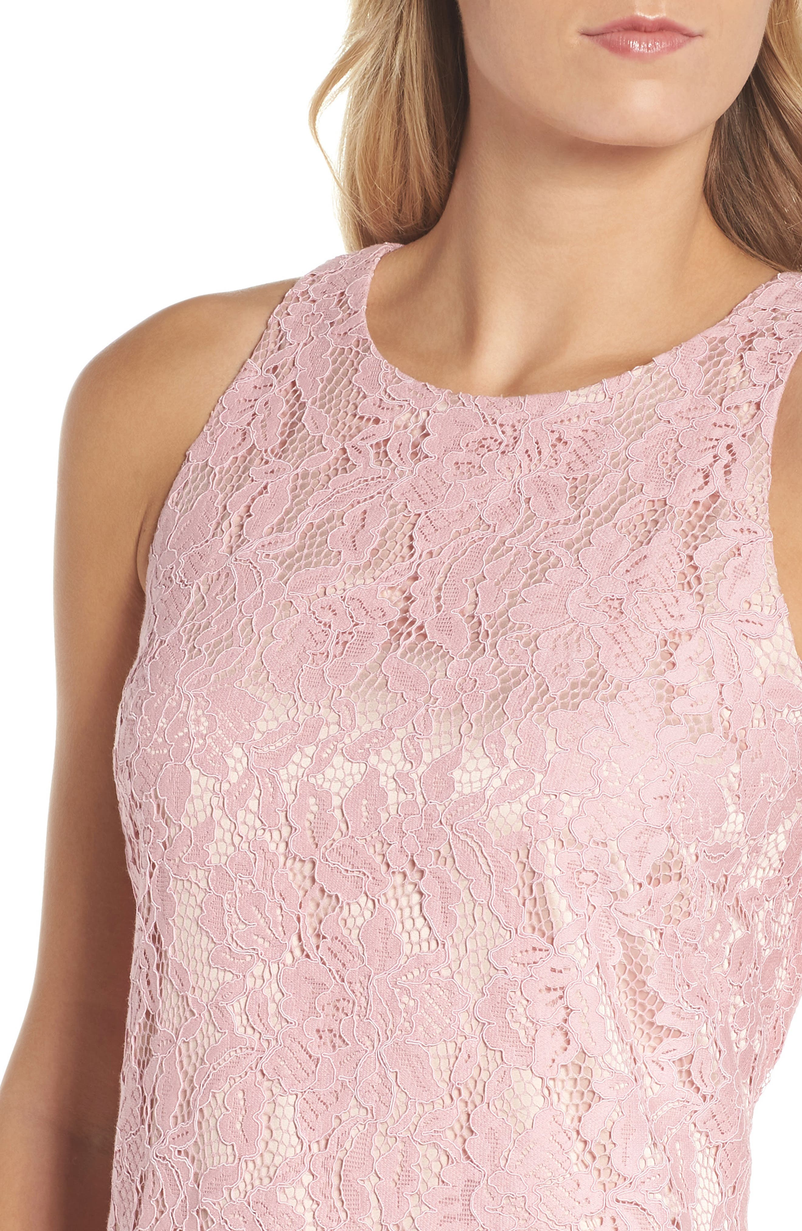 Sleeveless Drop Waist Lace Dress,                             Alternate thumbnail 4, color,                             Blush