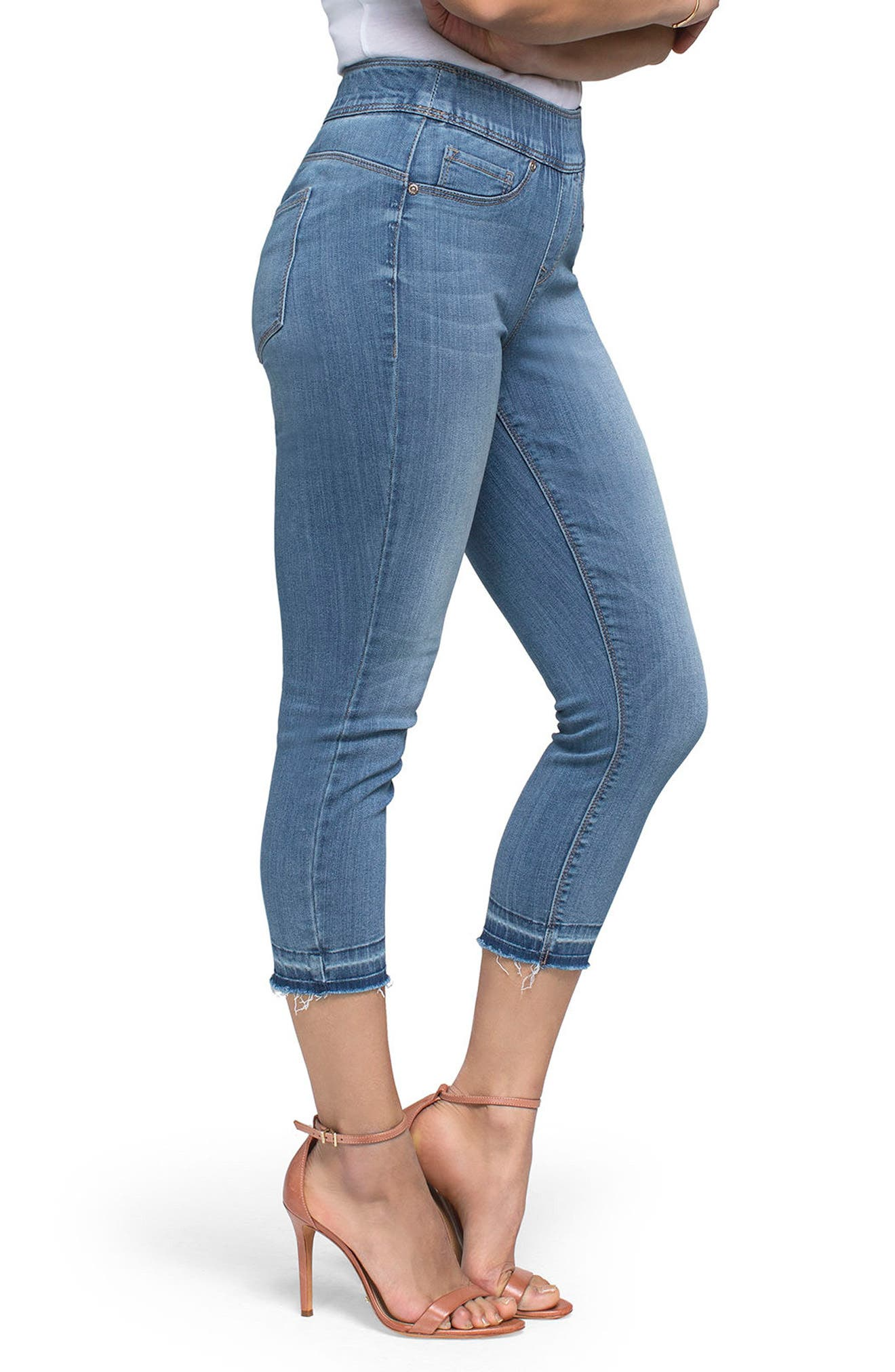 NYDJ Release Hem Pull-On Crop Skinny Jeans,                             Alternate thumbnail 3, color,                             Albany