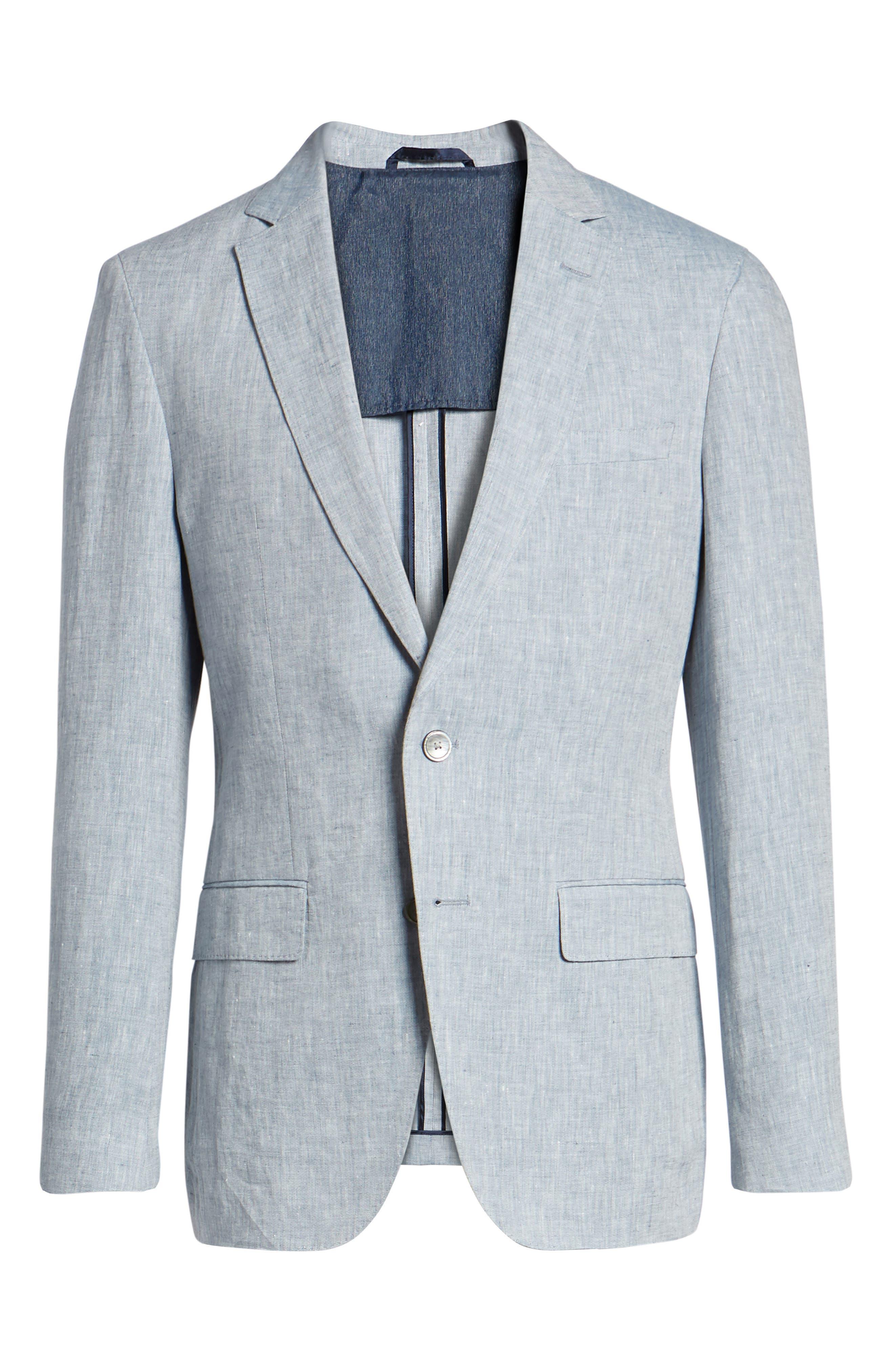 Helford/Gander Trim Fit Solid Linen Suit,                             Alternate thumbnail 9, color,                             Light Blue