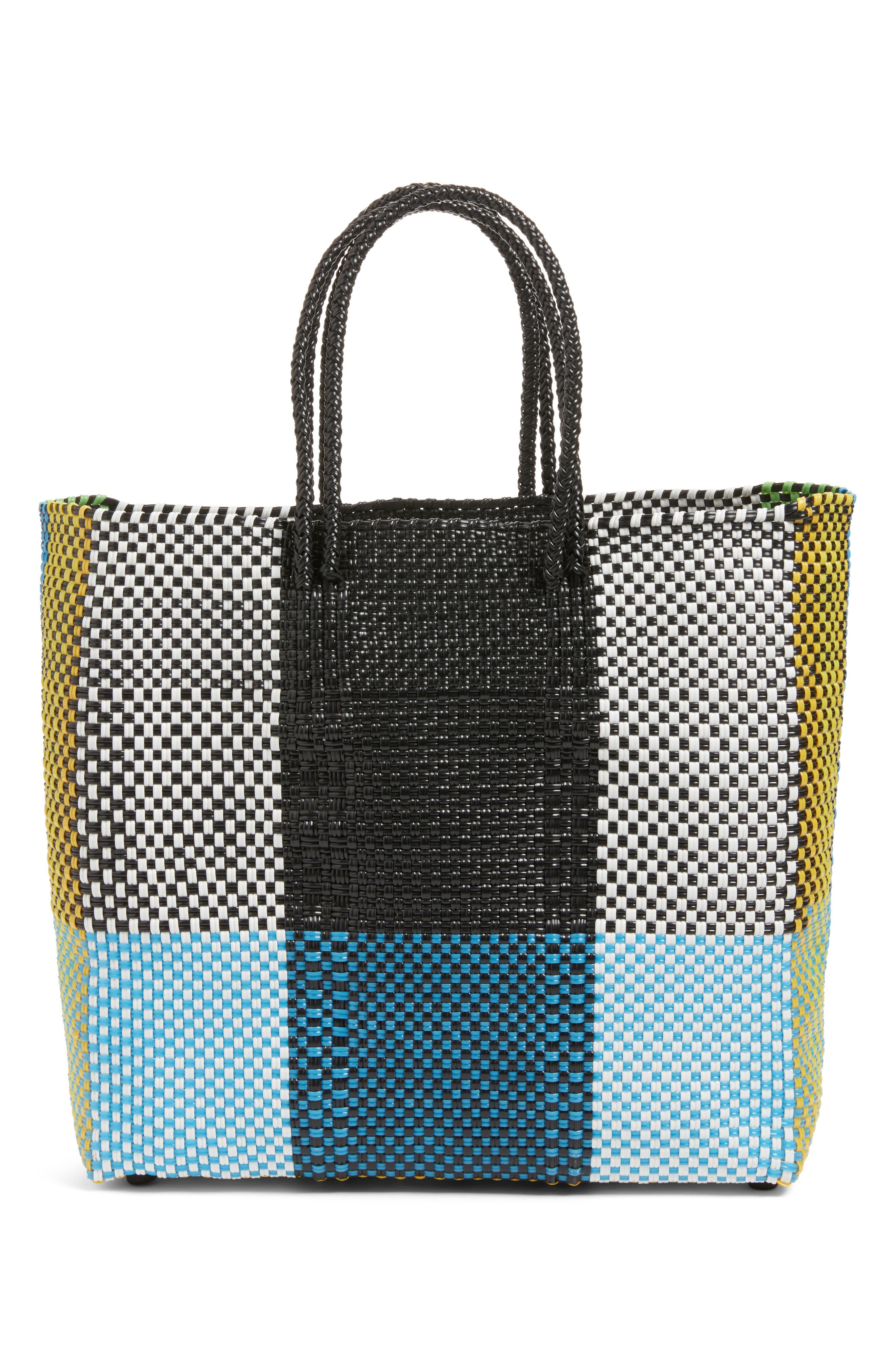 Medium Woven Tote,                         Main,                         color, Green/ Yellow
