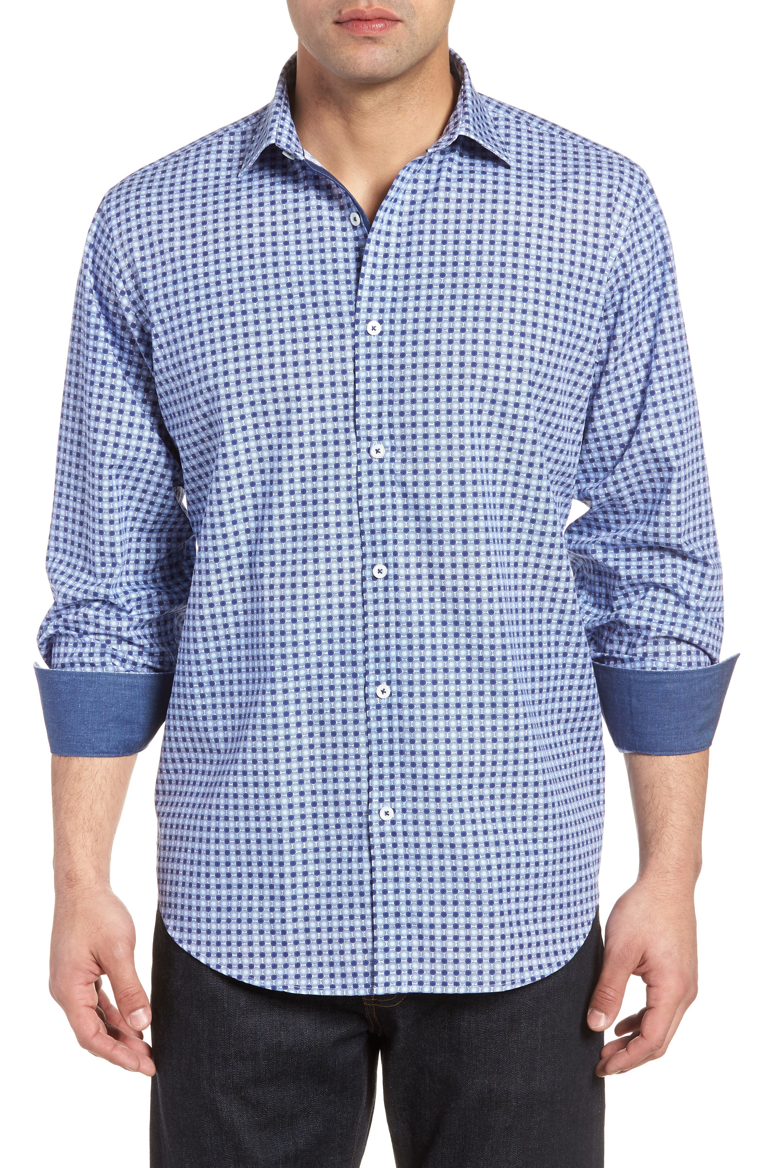 Classic Fit Woven Sport Shirt,                             Main thumbnail 1, color,                             Navy