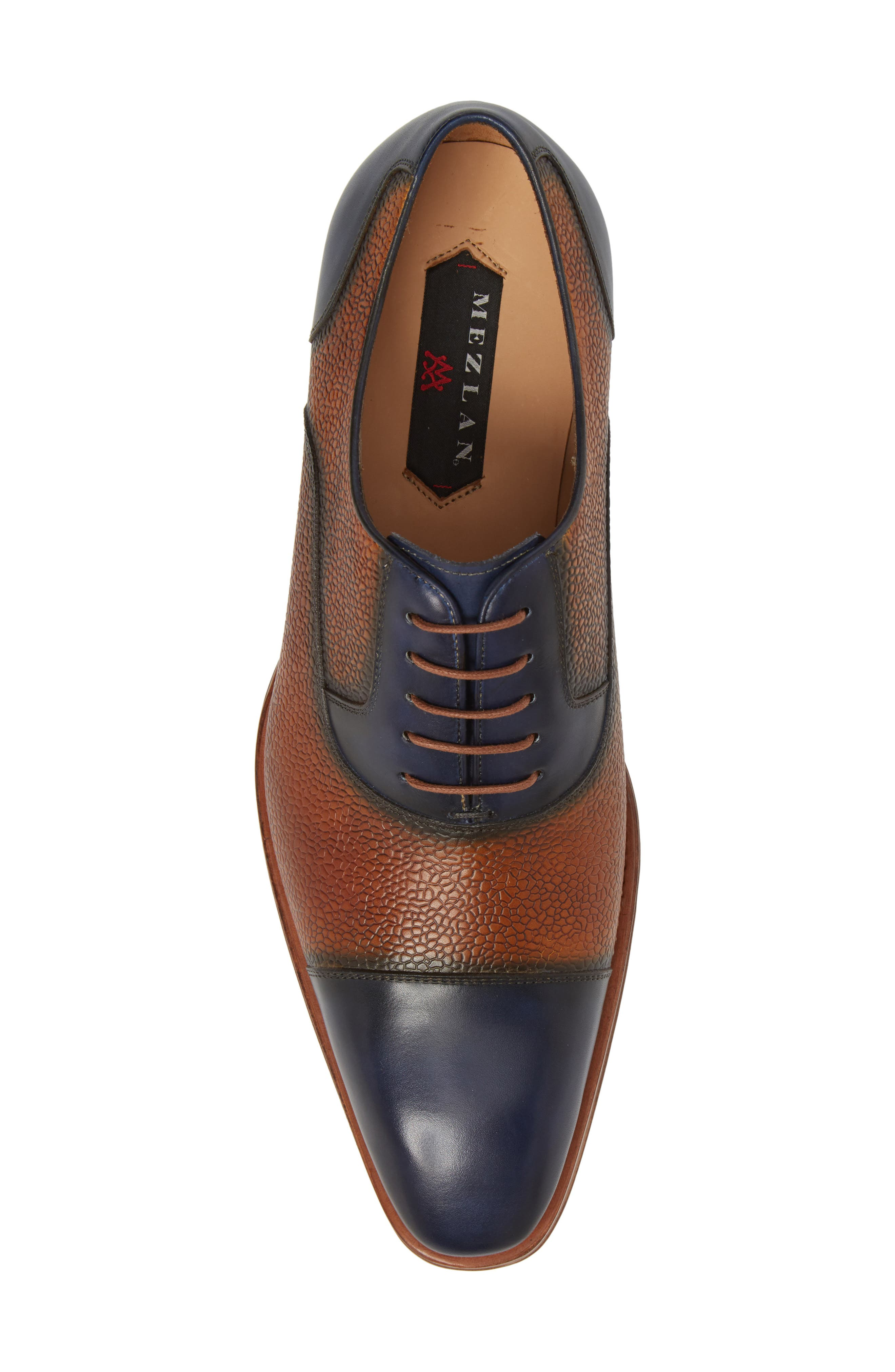 Verino Cap Toe Oxford,                             Alternate thumbnail 5, color,                             Blue/ Tan Leather