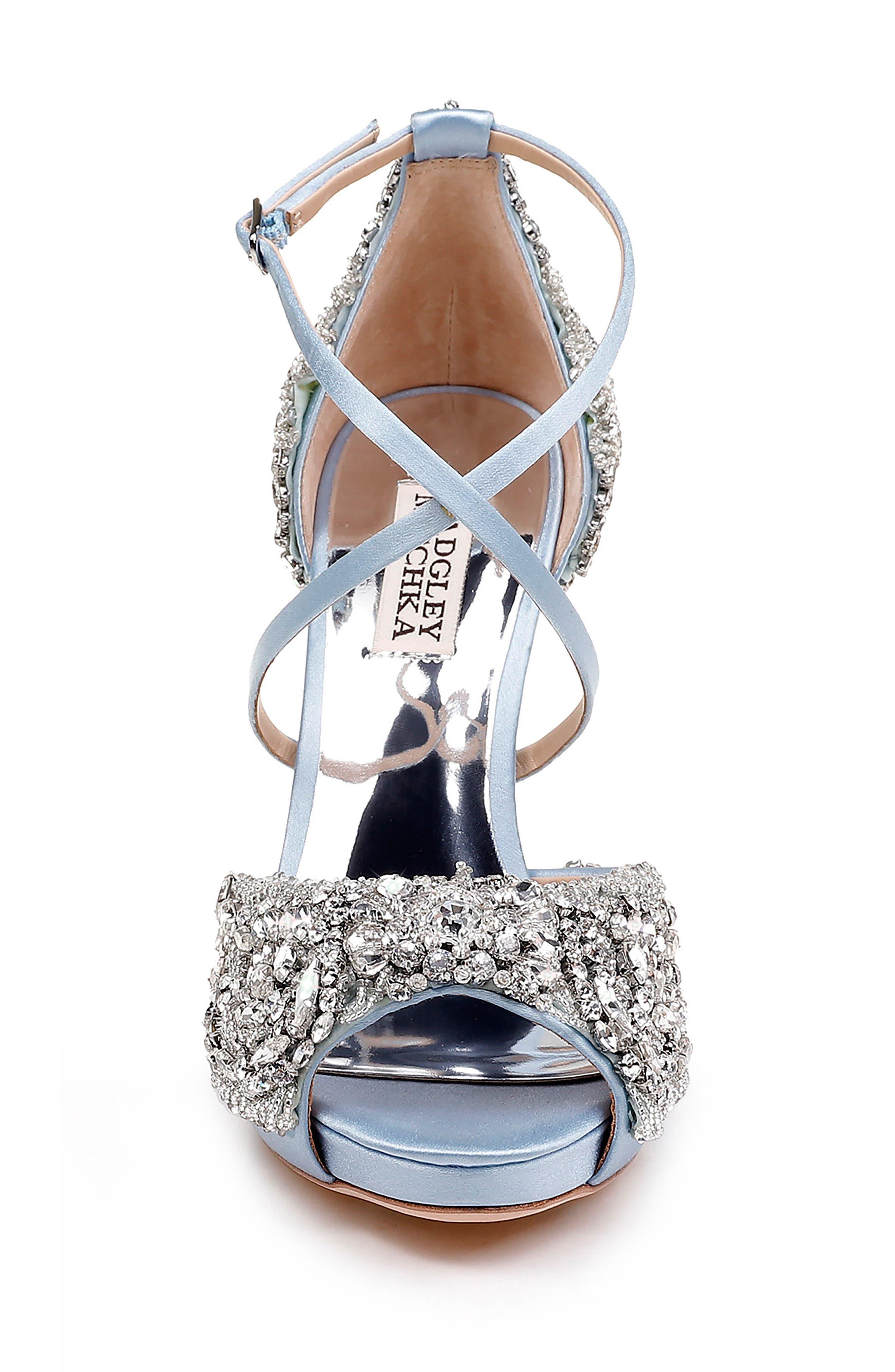 Hyper Crystal Embellished Sandal,                             Alternate thumbnail 4, color,                             Light Blue Satin