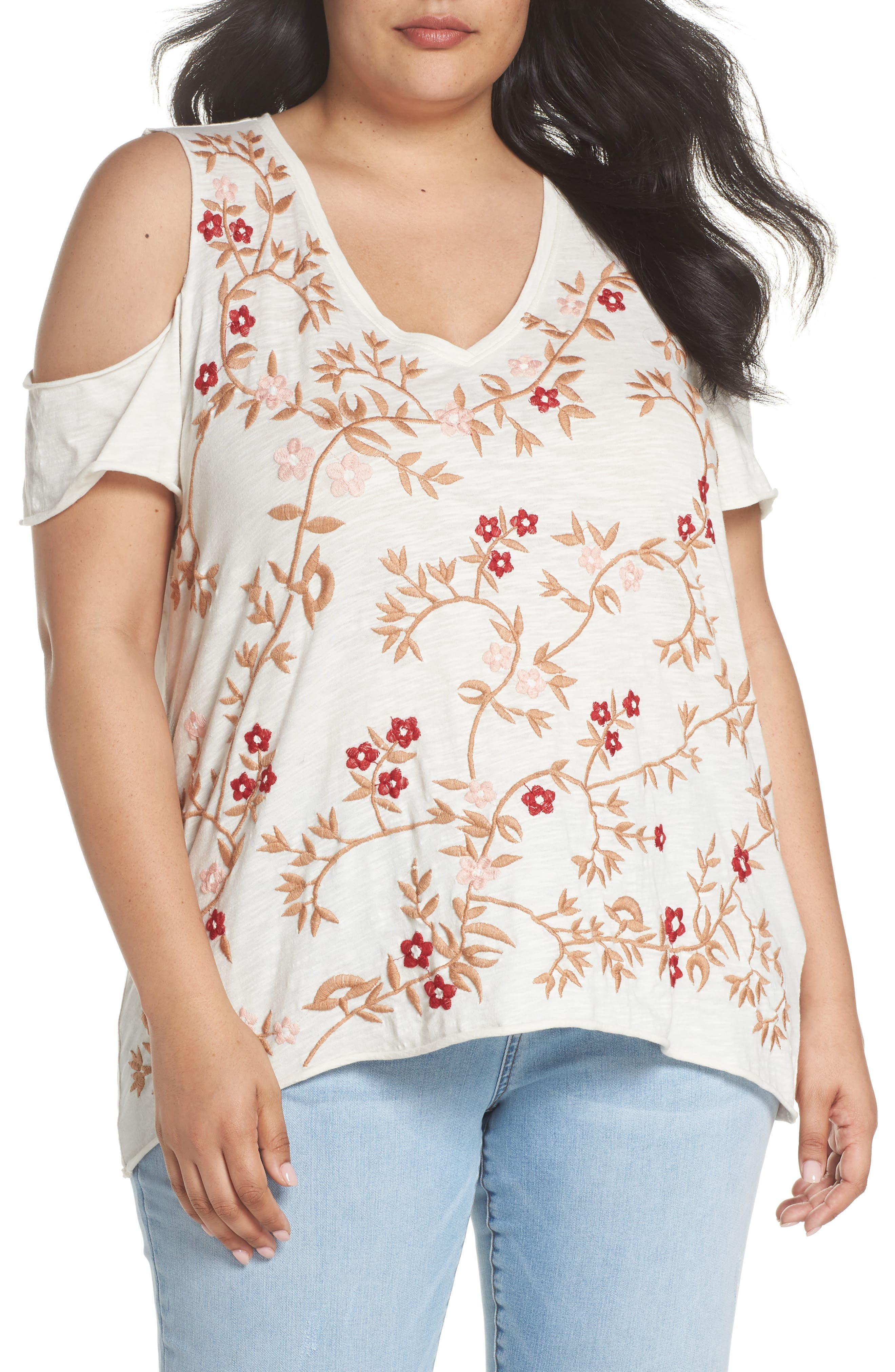 Alternate Image 1 Selected - Lucky Brand Floral Embroidered Tee (Plus Size)