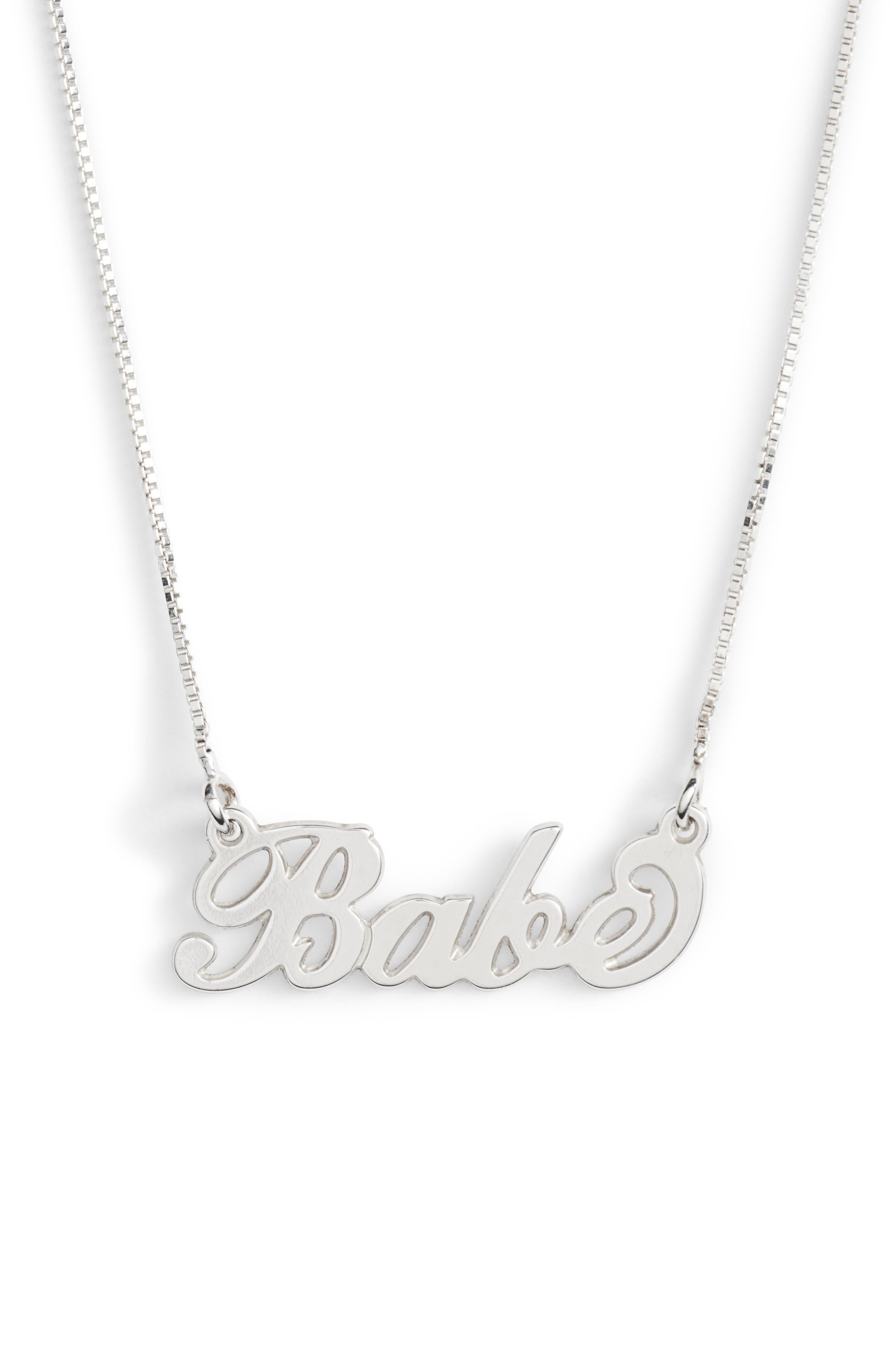 Classic Script Necklace,                             Main thumbnail 1, color,                             Silver- Babe