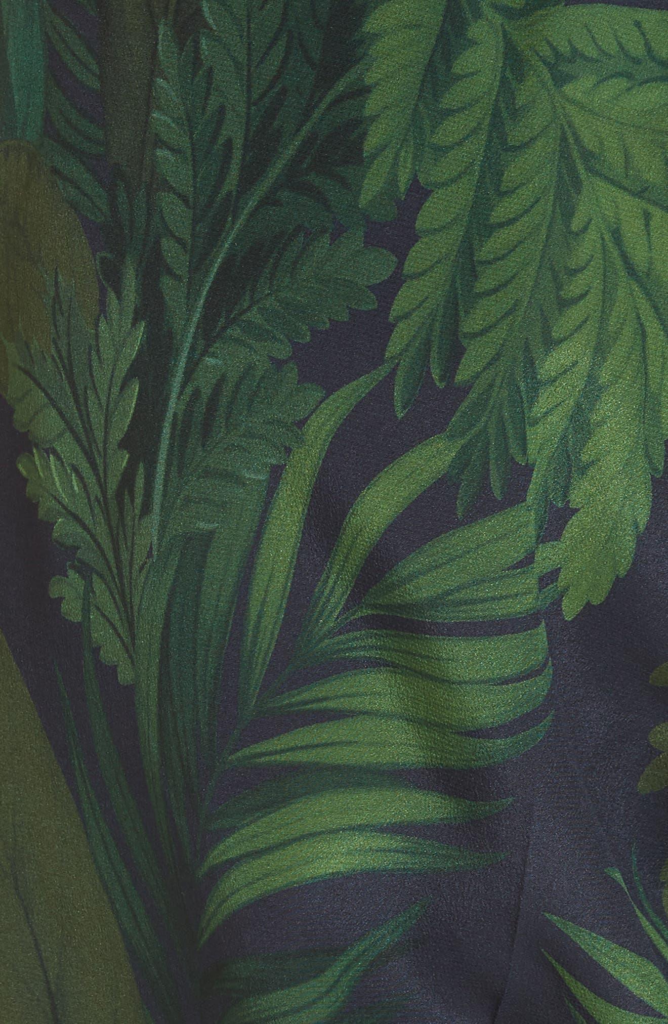 Palm Print Crop Silk Pants,                             Alternate thumbnail 6, color,                             Navy/ Green