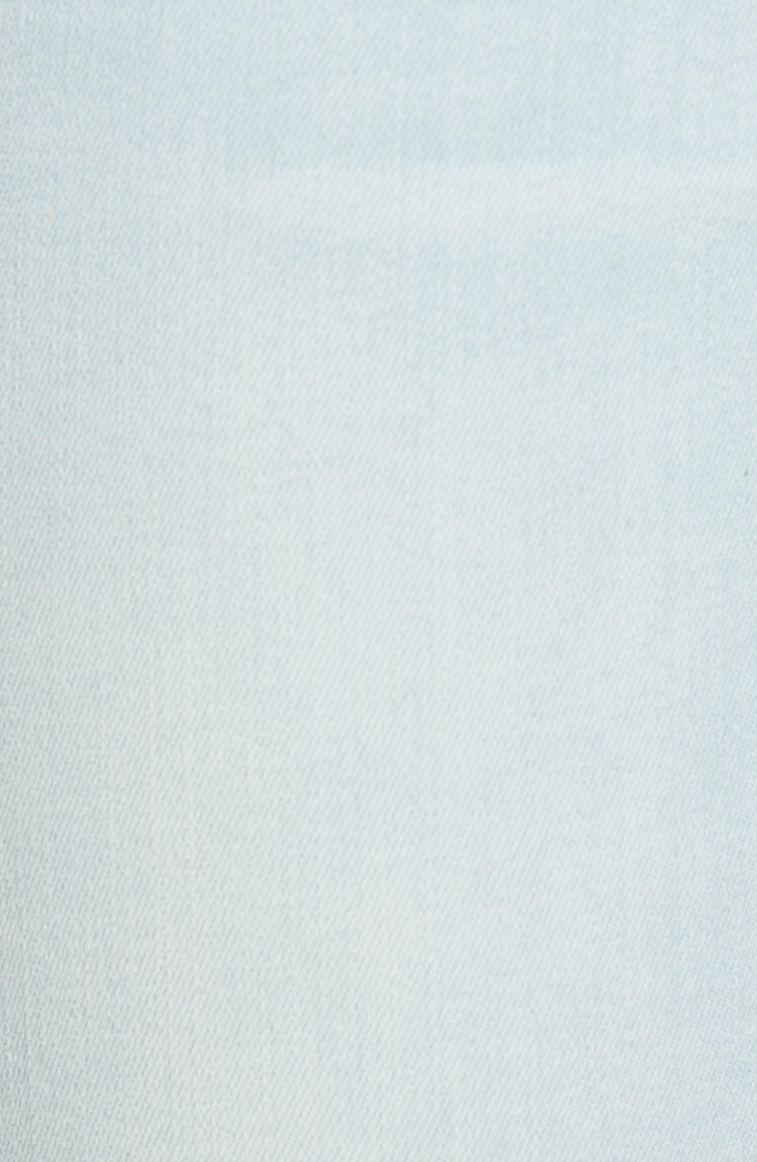 Distressed Asymmetrical Hem Skinny Jeans,                             Alternate thumbnail 6, color,                             Light Wash