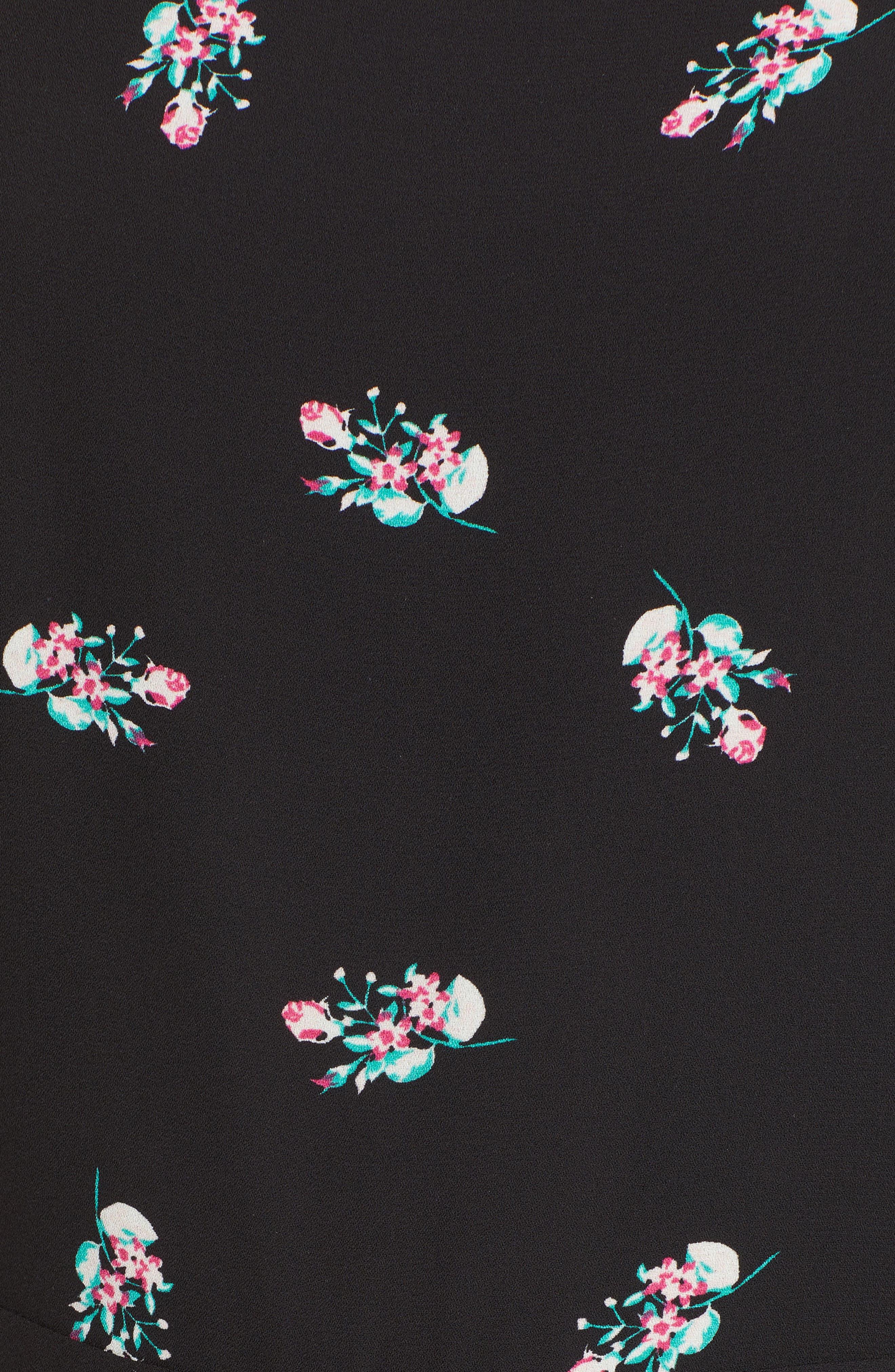 Culotte Jumpsuit,                             Alternate thumbnail 5, color,                             Black Spring Floral