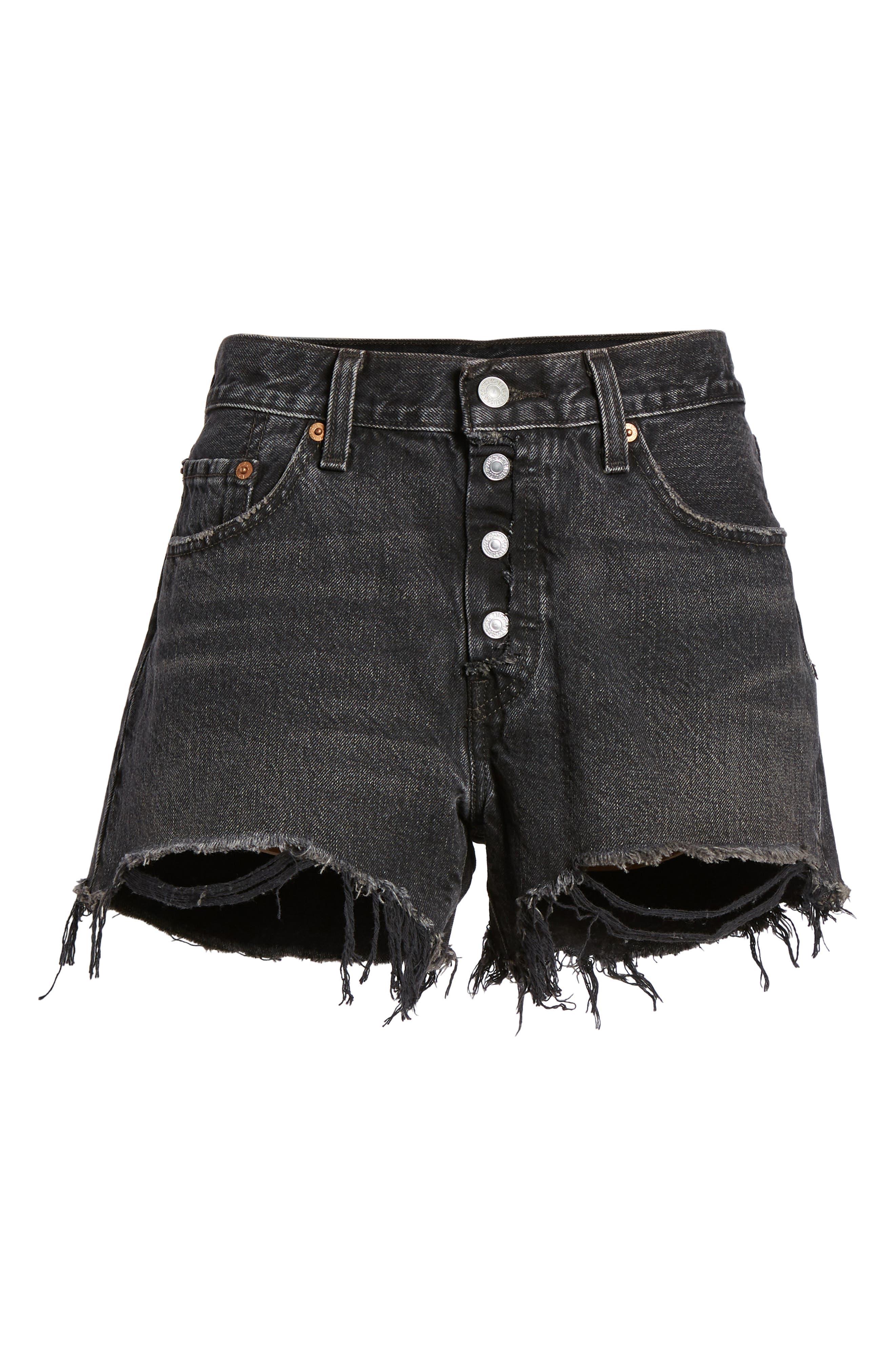 501<sup>®</sup> Cutoff Denim Shorts,                             Alternate thumbnail 6, color,                             Black Eye