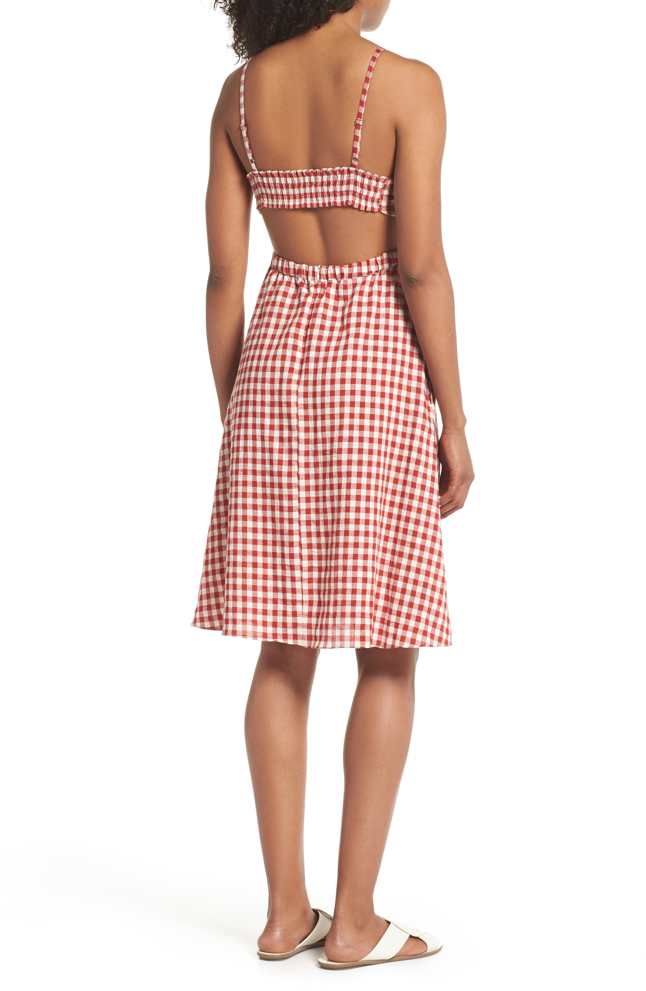 Gingham Bandeau Dress,                             Alternate thumbnail 2, color,                             Red-White