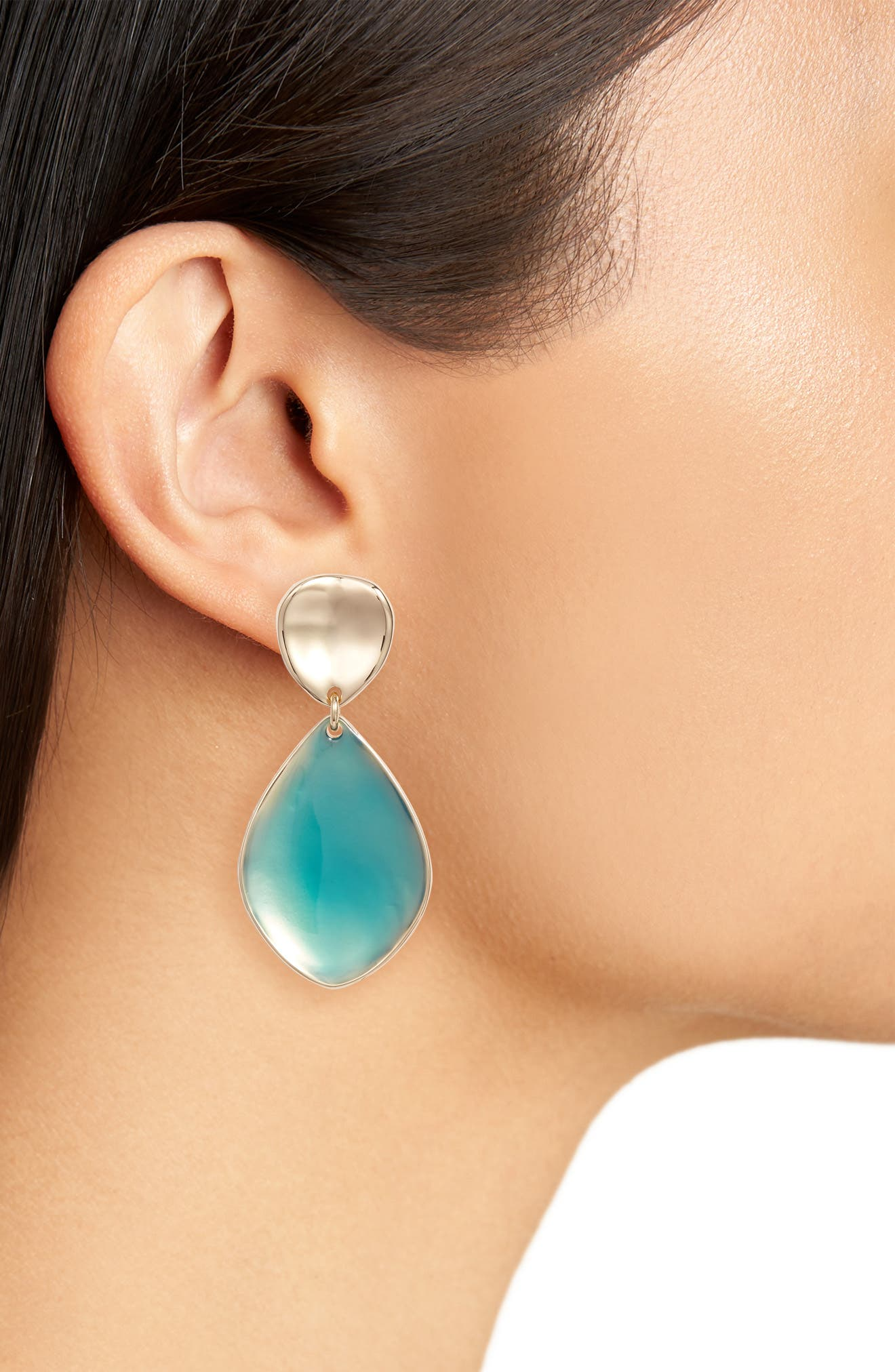 Painted Petal Double Drop Earrings,                             Alternate thumbnail 2, color,                             Teal- Gold