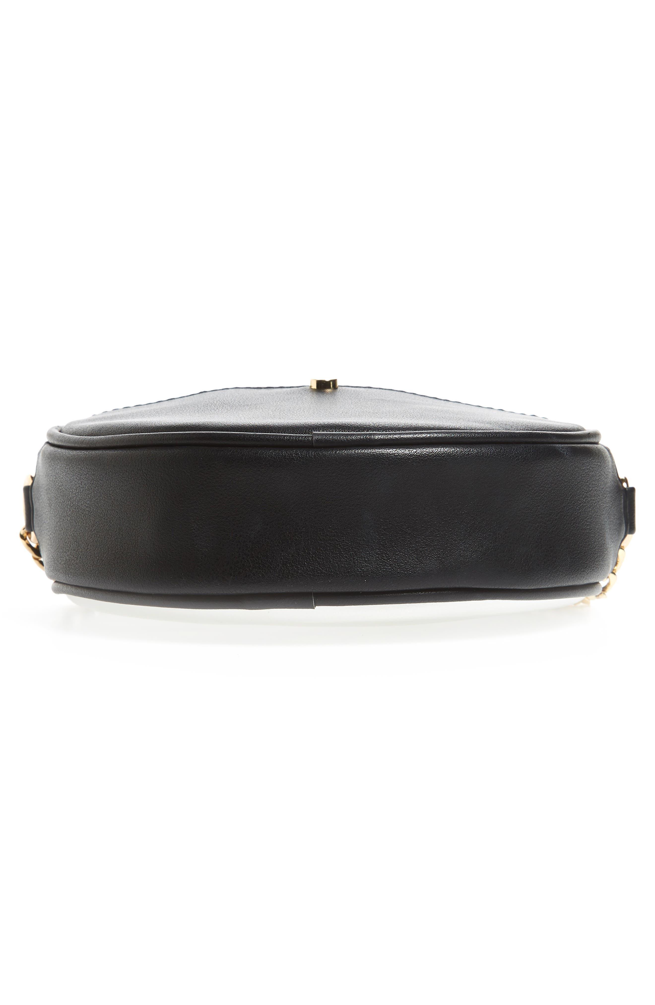 Mali + Lili Payton Vegan Leather Canteen Crossbody Bag,                             Alternate thumbnail 6, color,                             Black/ White